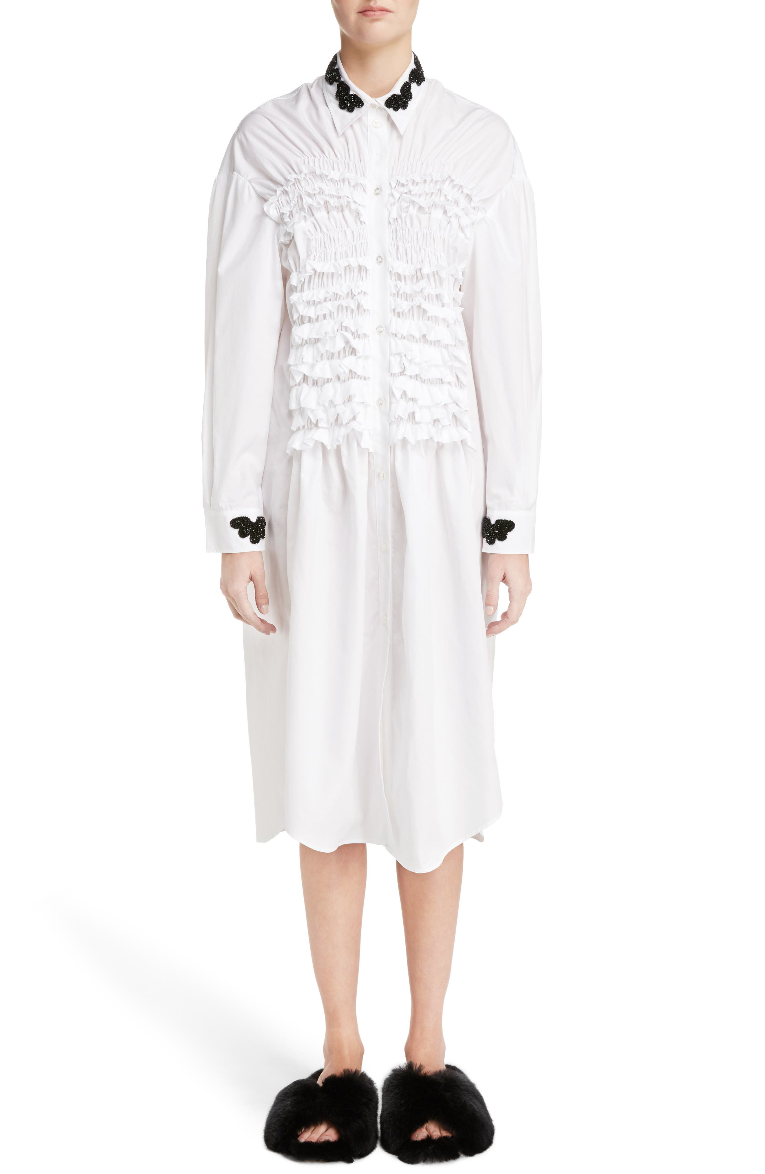 Beaded Collar Smocked Long Blouse,                         Main,                         color, White Black