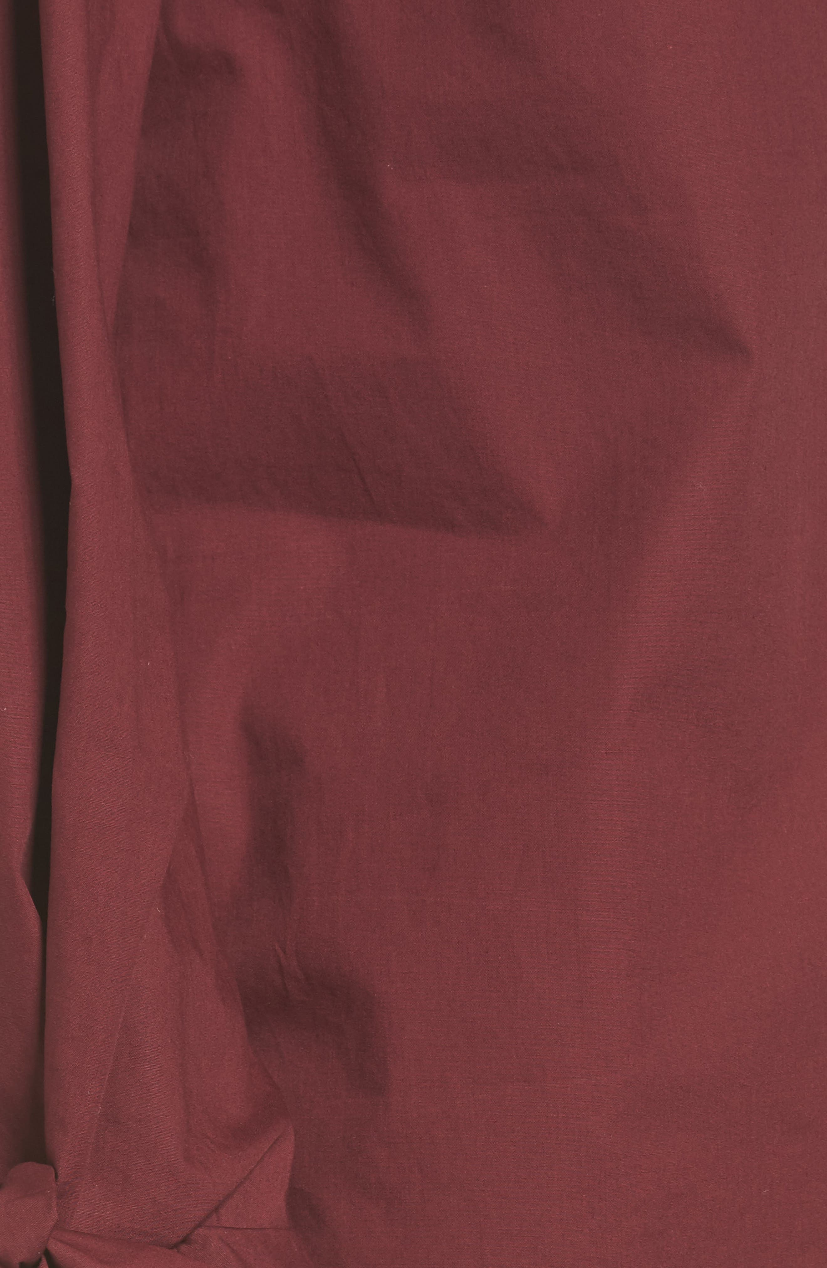 Tie Cuff Poplin Top,                             Alternate thumbnail 5, color,                             Red Tannin