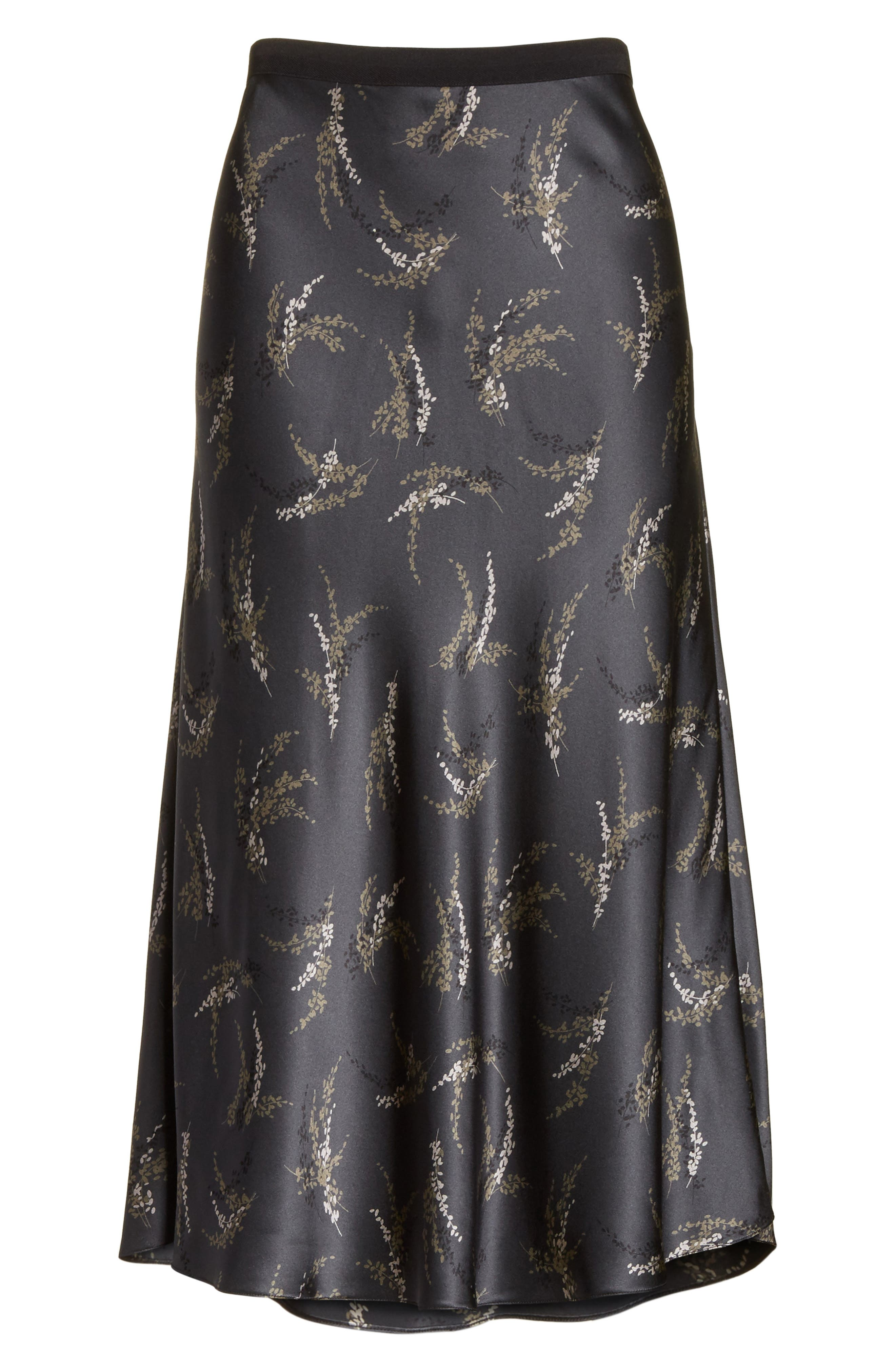 Spring Floral Pull-On Silk Midi Skirt,                             Alternate thumbnail 7, color,                             Charcoal
