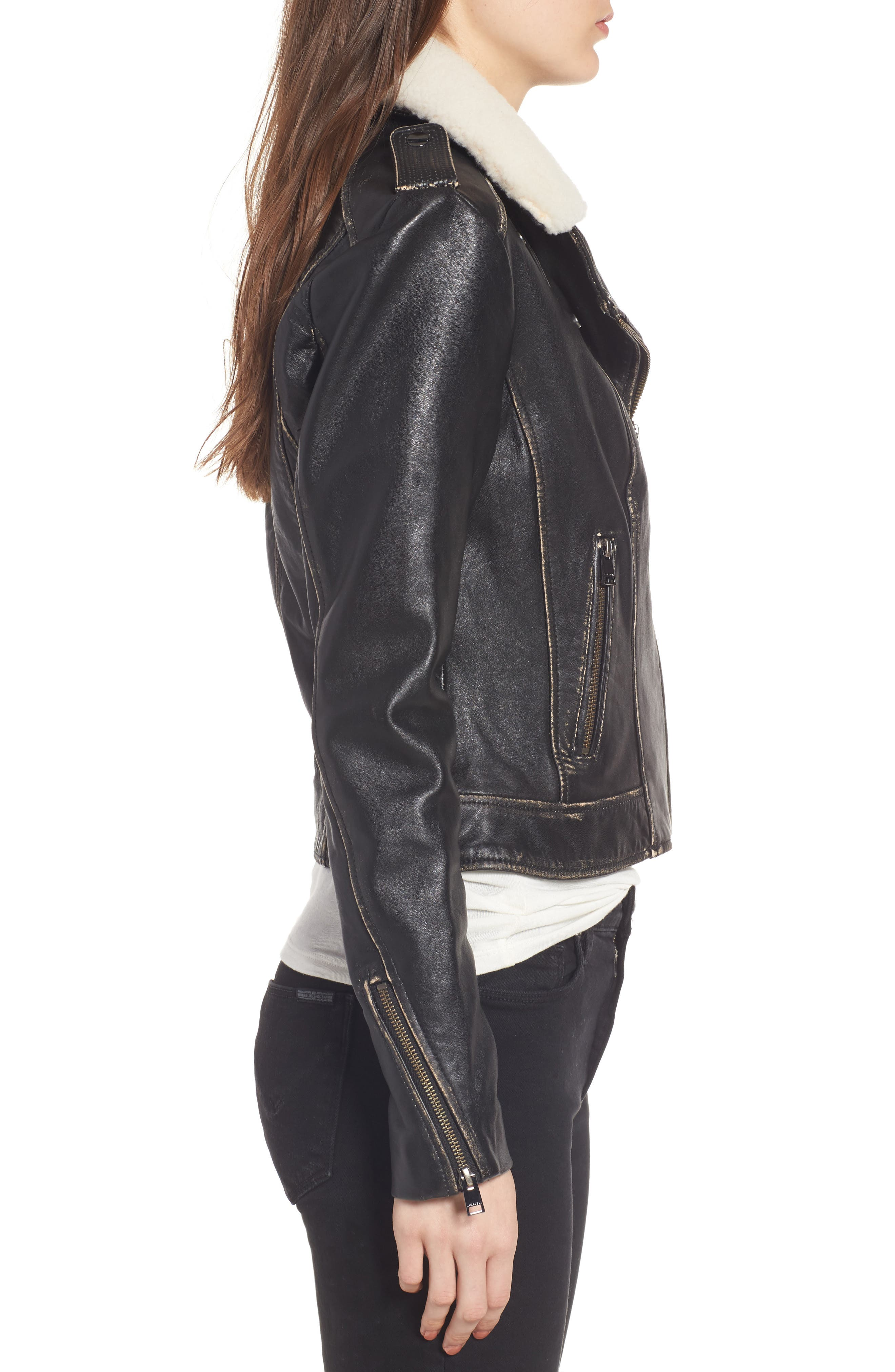 Moto Jacket with Detachable Genuine Shearling,                             Alternate thumbnail 4, color,                             Black