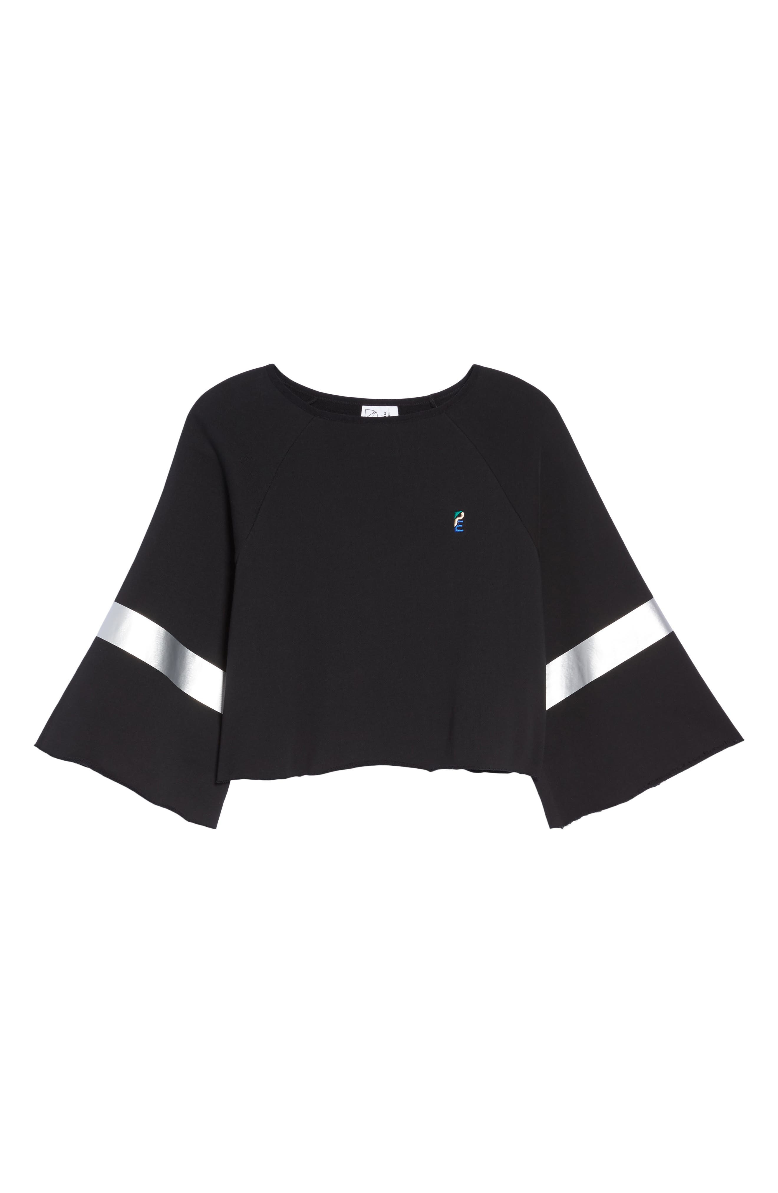 Power Hitter Crop Sweatshirt,                             Alternate thumbnail 6, color,                             Black