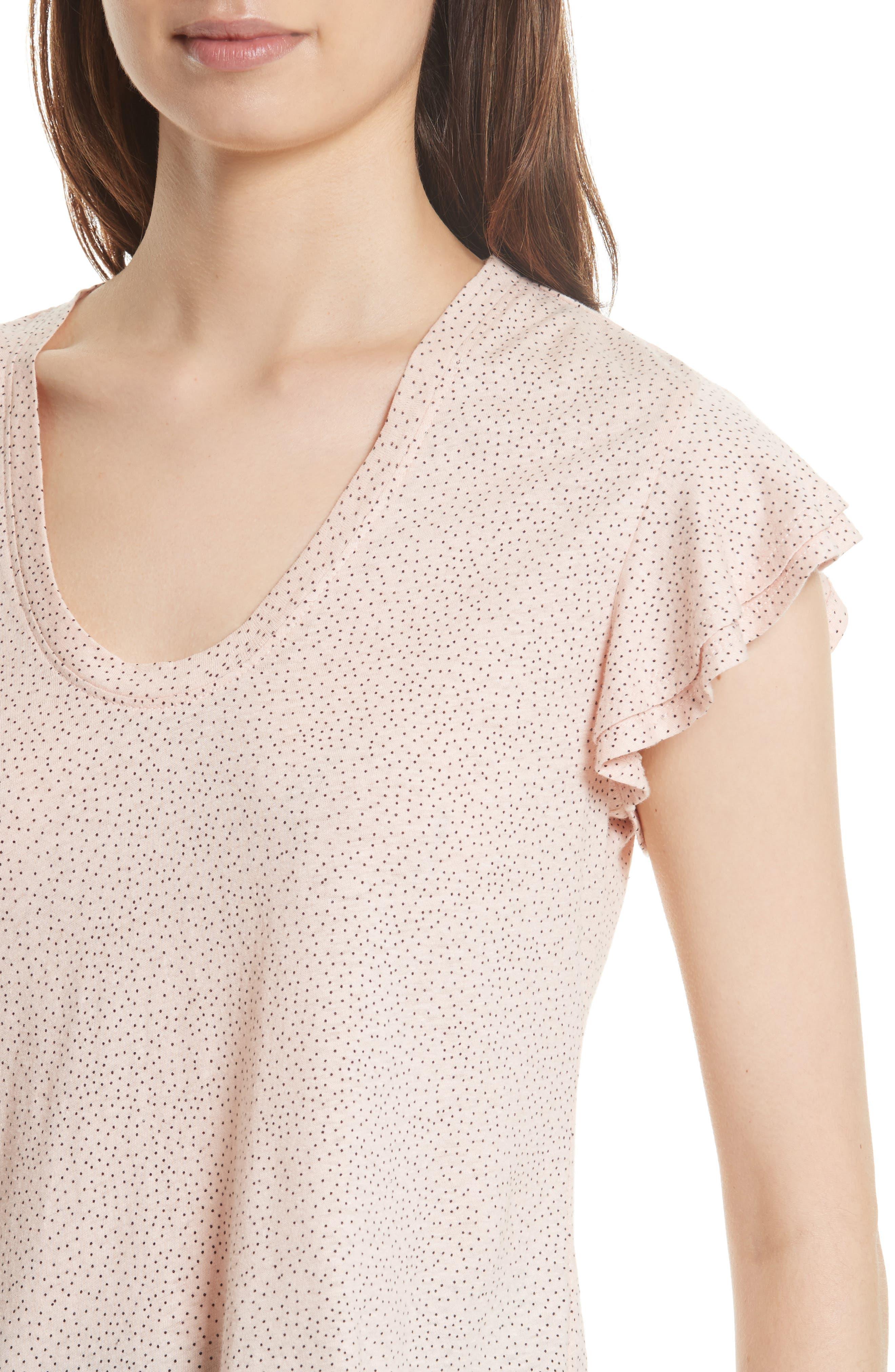 Alternate Image 4  - La Vie Rebecca Taylor Cherie Dot Flutter Sleeve Top