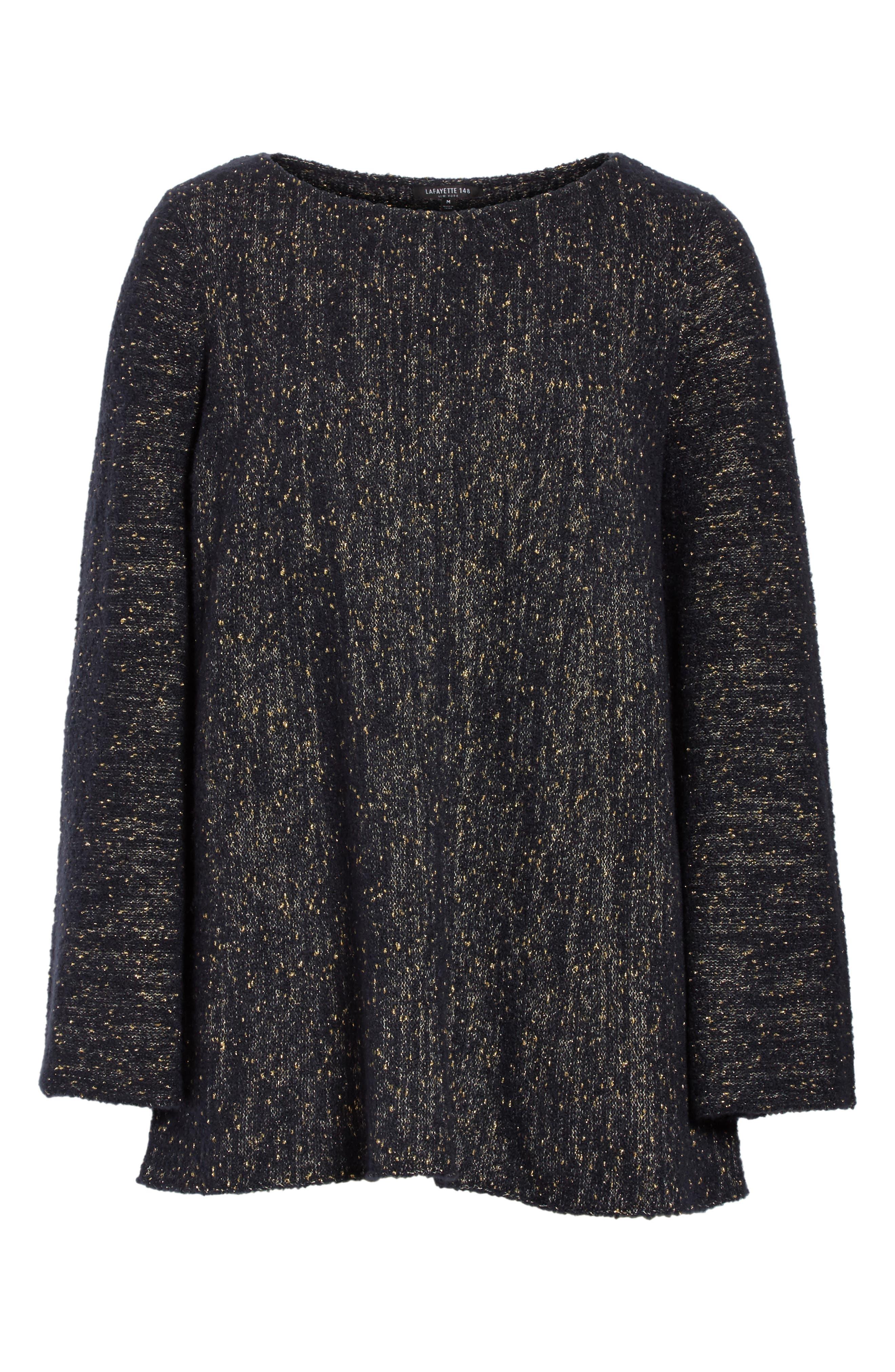Lafayette Metallic Knit A-Line Sweater,                             Alternate thumbnail 6, color,                             Ink Metallic