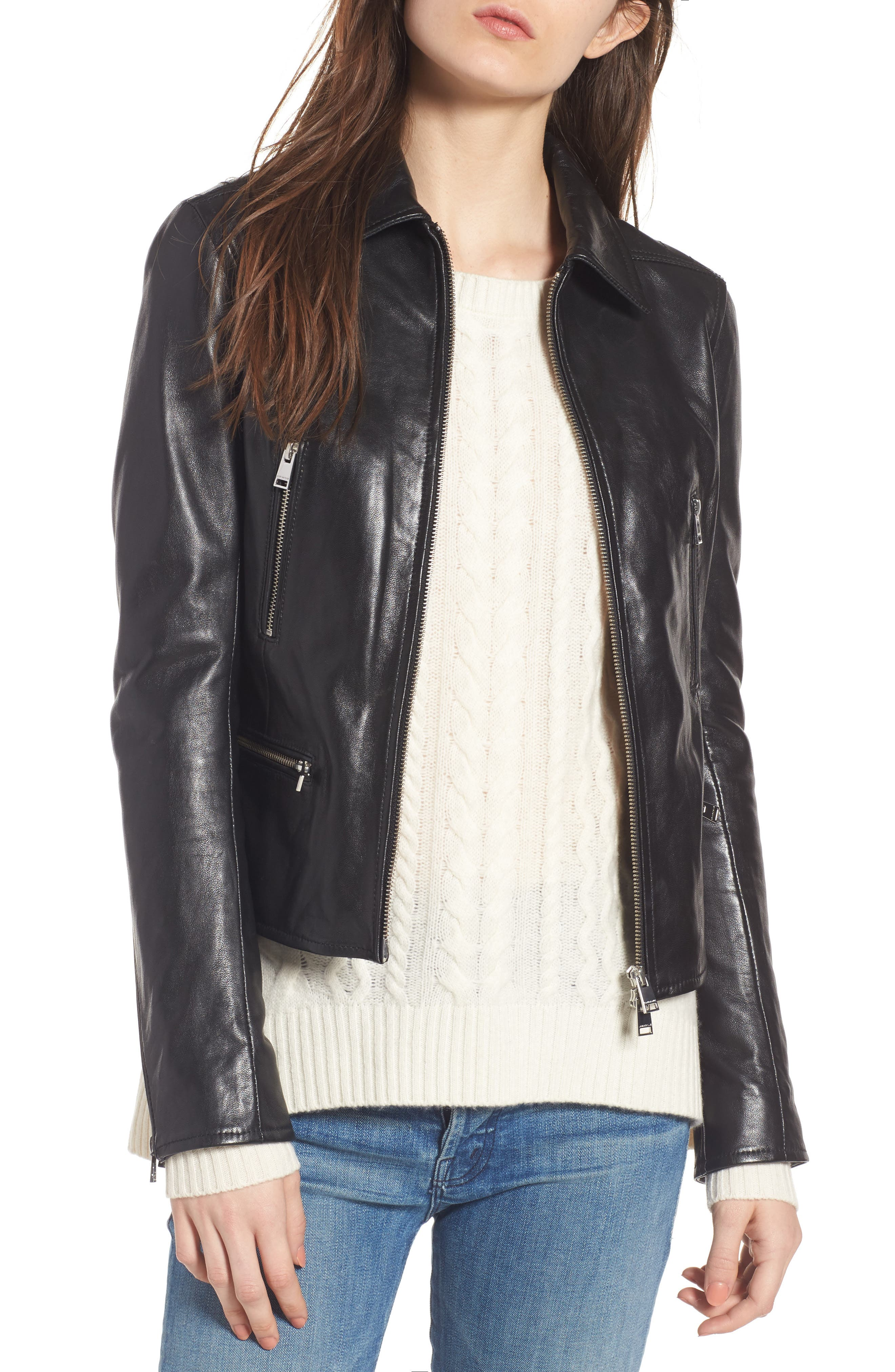 LAMARQUE Shirt Collar Leather Jacket