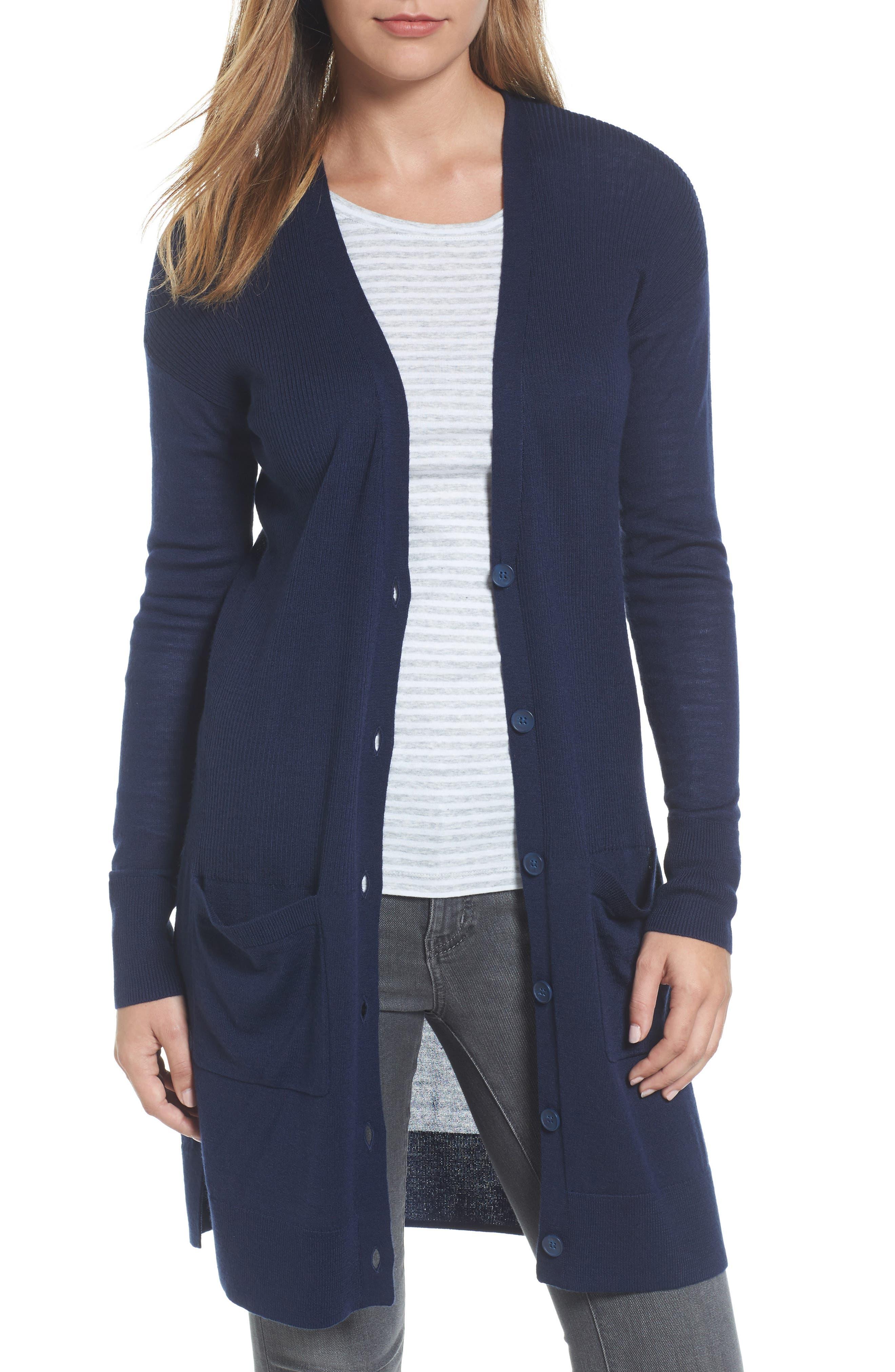 Alternate Image 1 Selected - Halogen® Rib Knit Wool Blend Cardigan (Regular & Petite)
