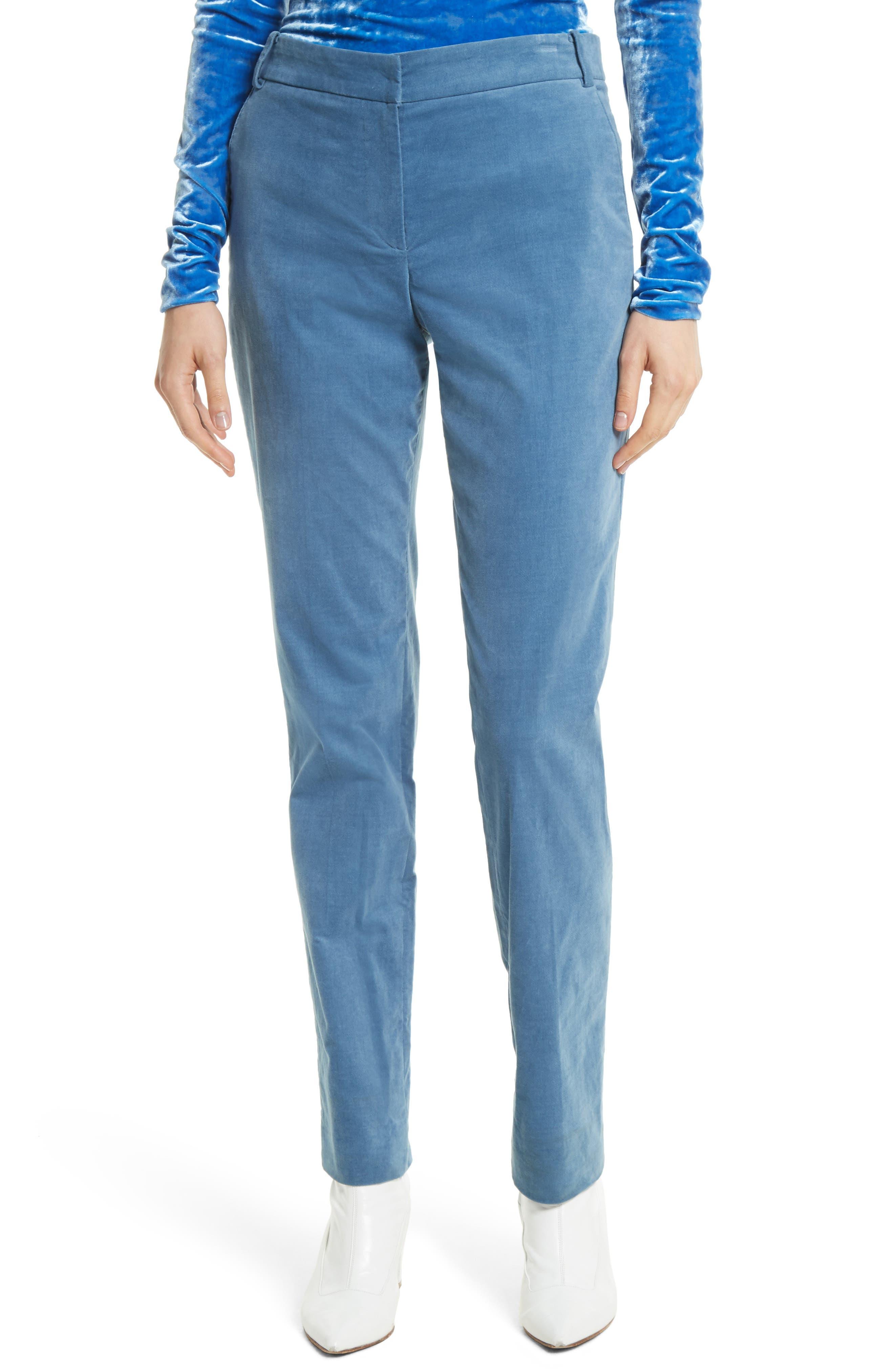 Moleskin Stretch Cotton Skinny Pants,                         Main,                         color, Blue
