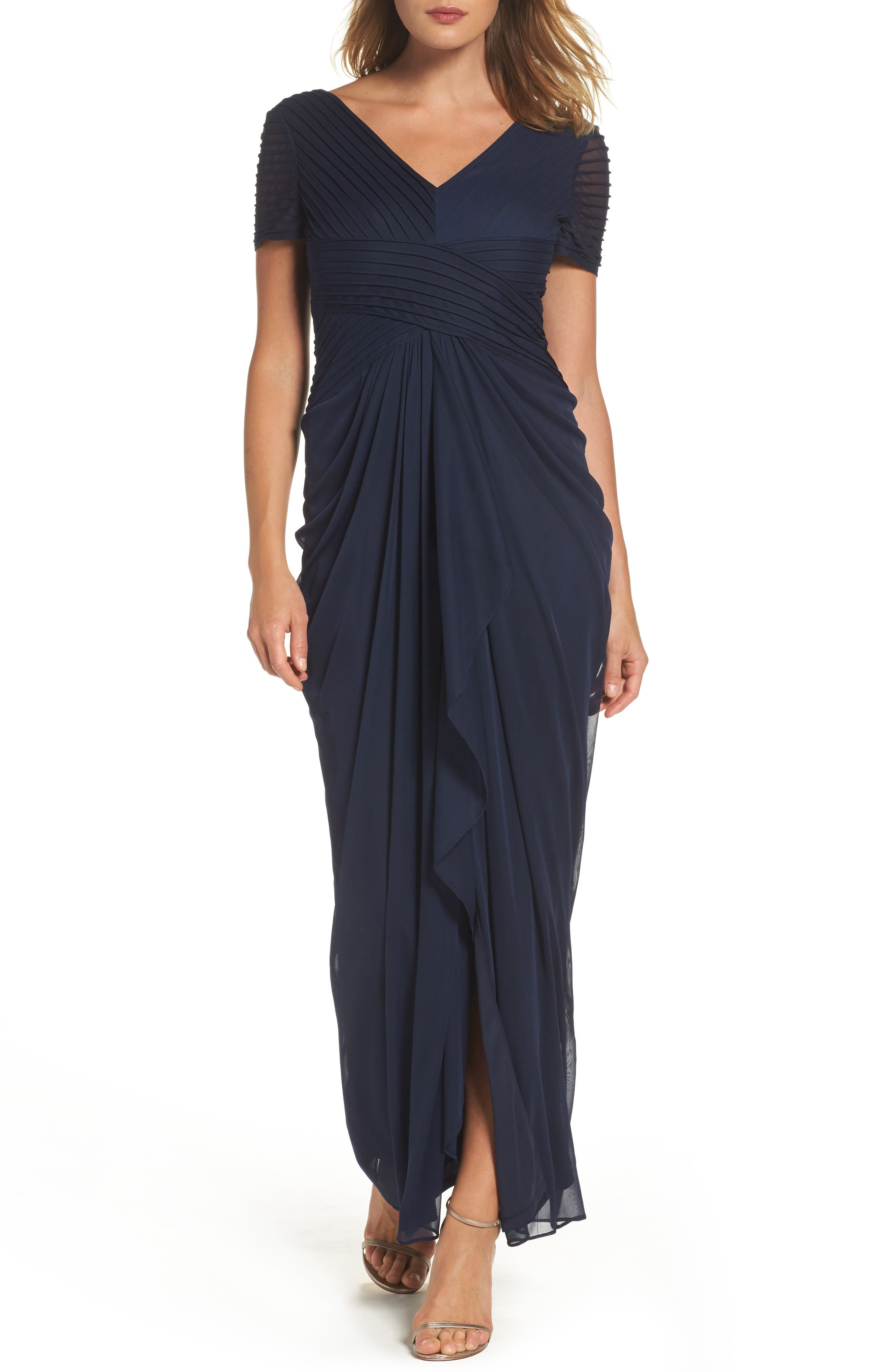 Draped Mesh Gown,                         Main,                         color, Navy