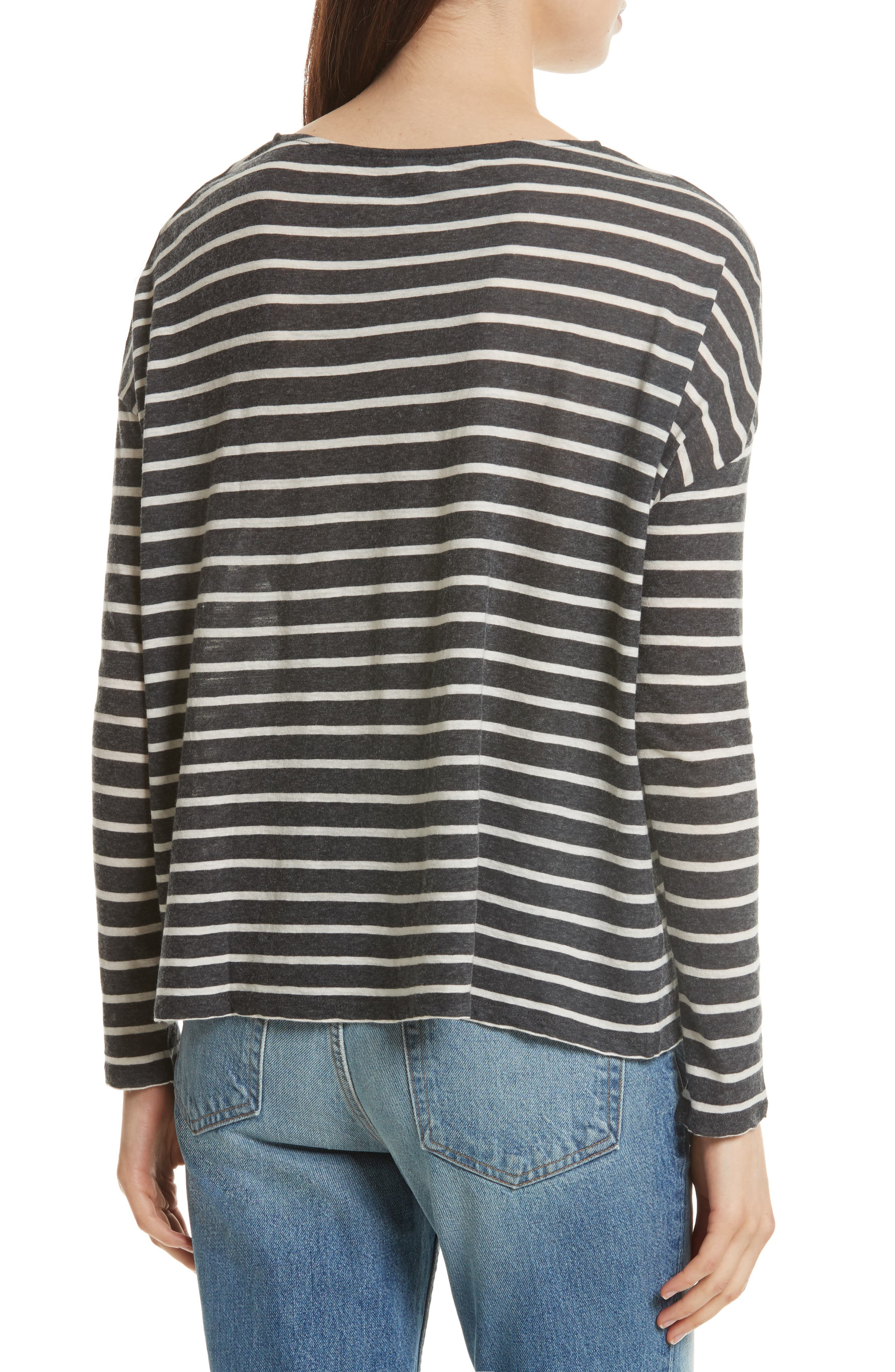 Stripe Cotton & Cashmere Boatneck Top,                             Alternate thumbnail 2, color,                             Anthracite/ Milk