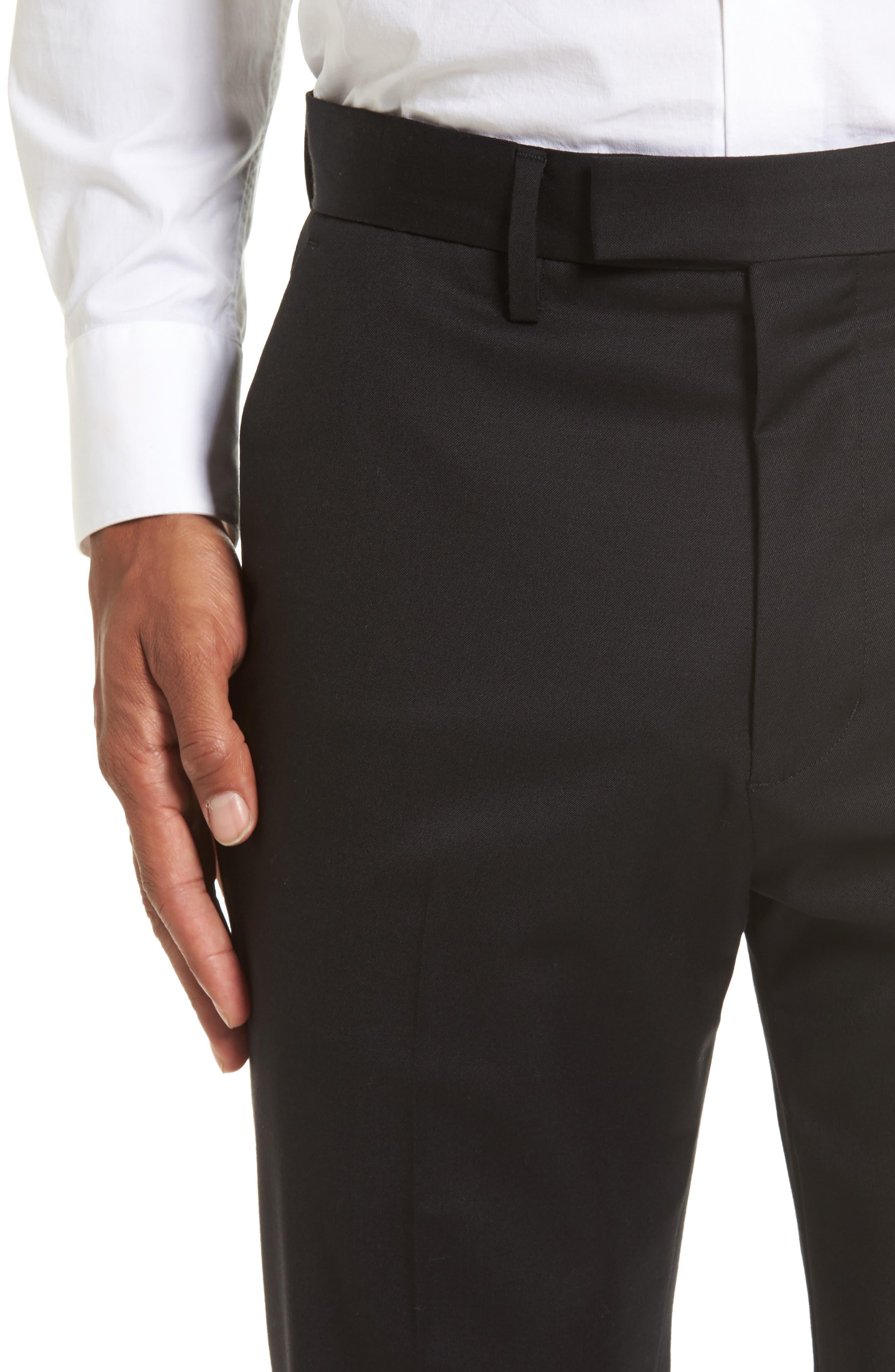Slim Wool Trousers,                             Alternate thumbnail 4, color,                             Black Caviar