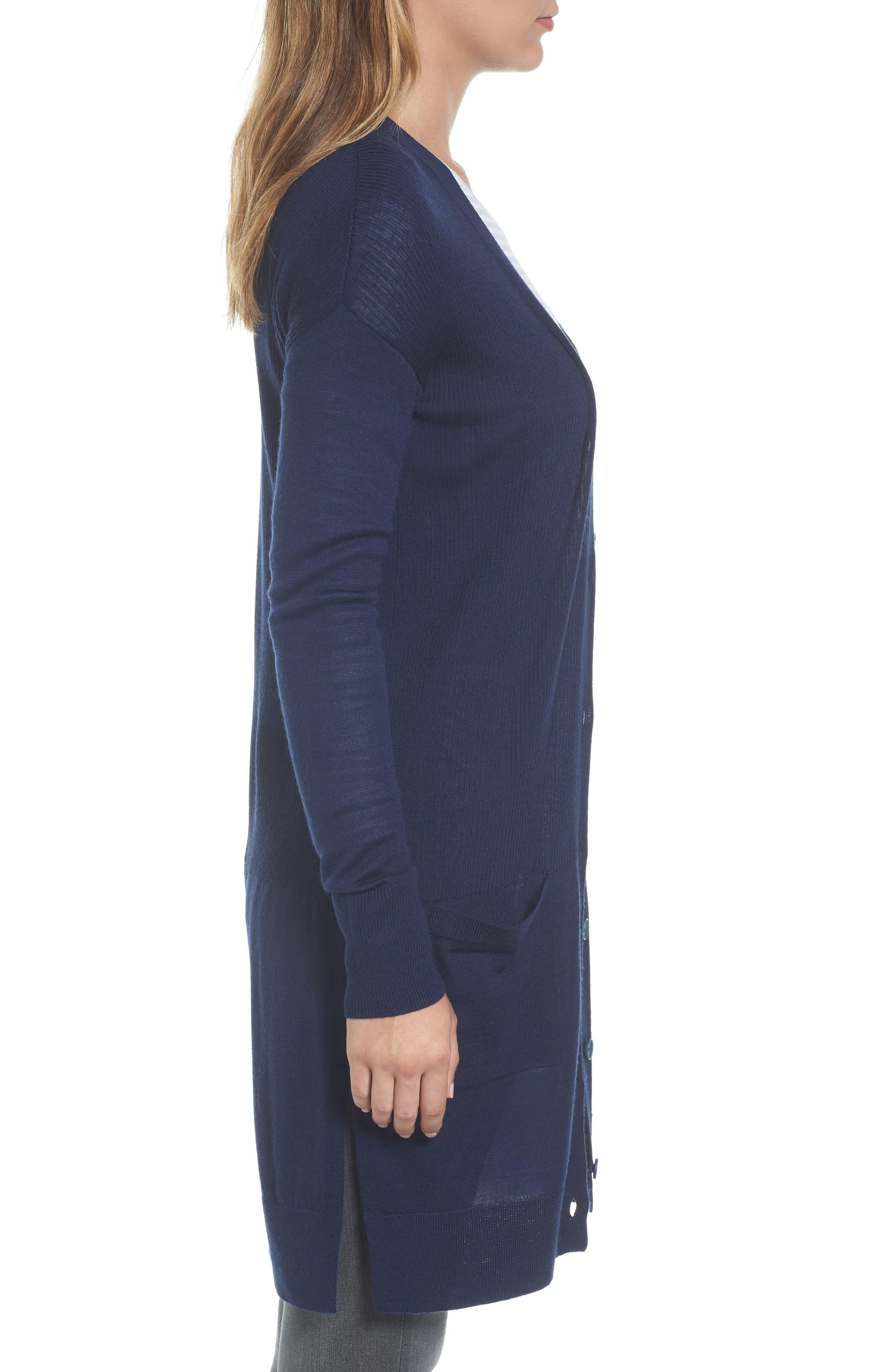 Alternate Image 3  - Halogen® Rib Knit Wool Blend Cardigan (Regular & Petite)