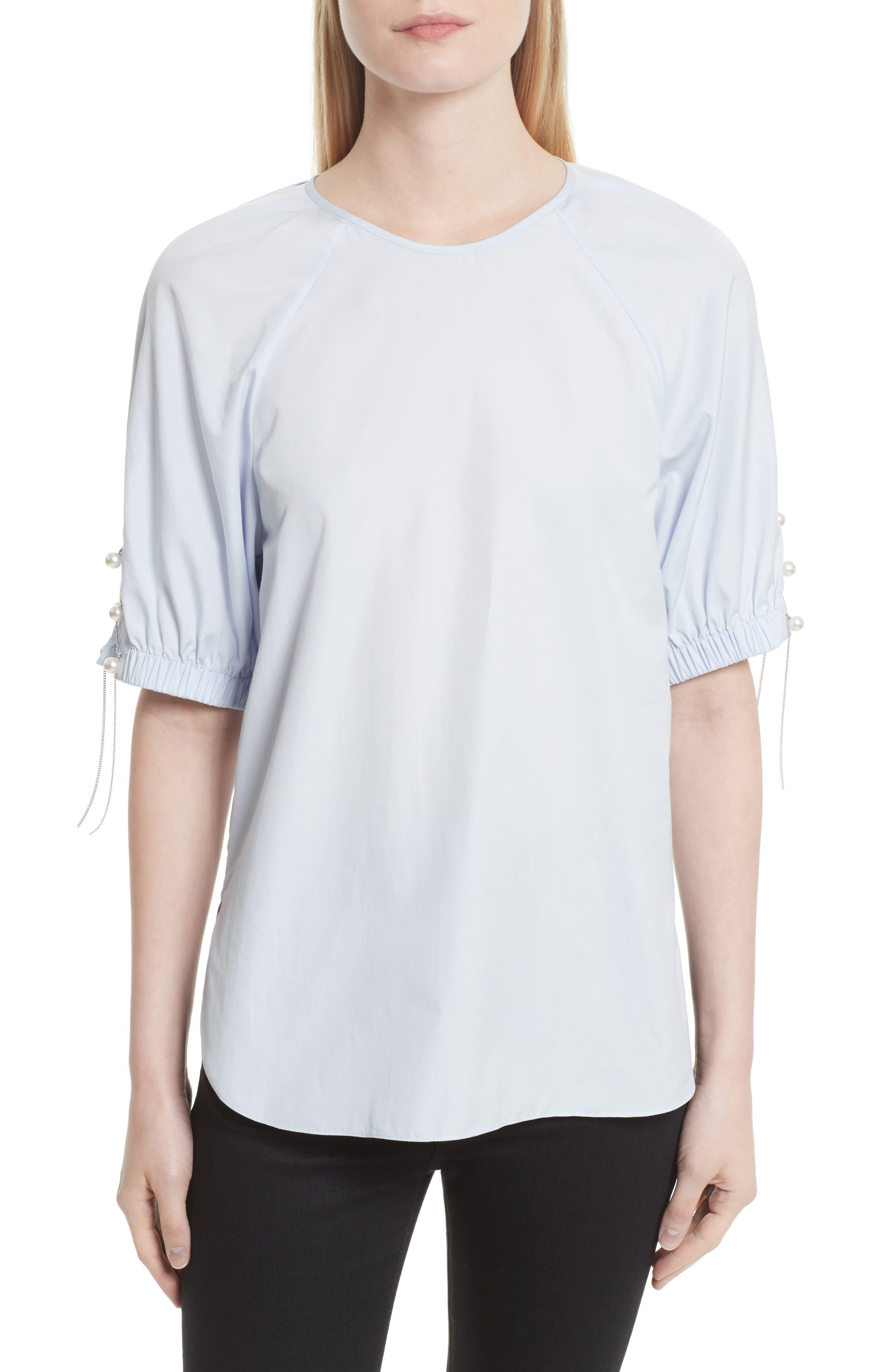 Main Image - 3.1 Phillip Lim Faux Pearl & Chain Lacing Cotton Top
