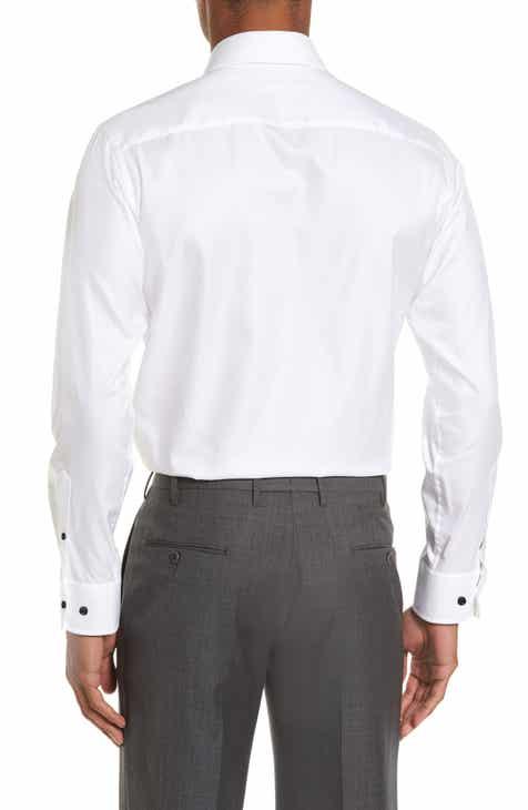 David Donahue Slim Fit Solid Dress Shirt