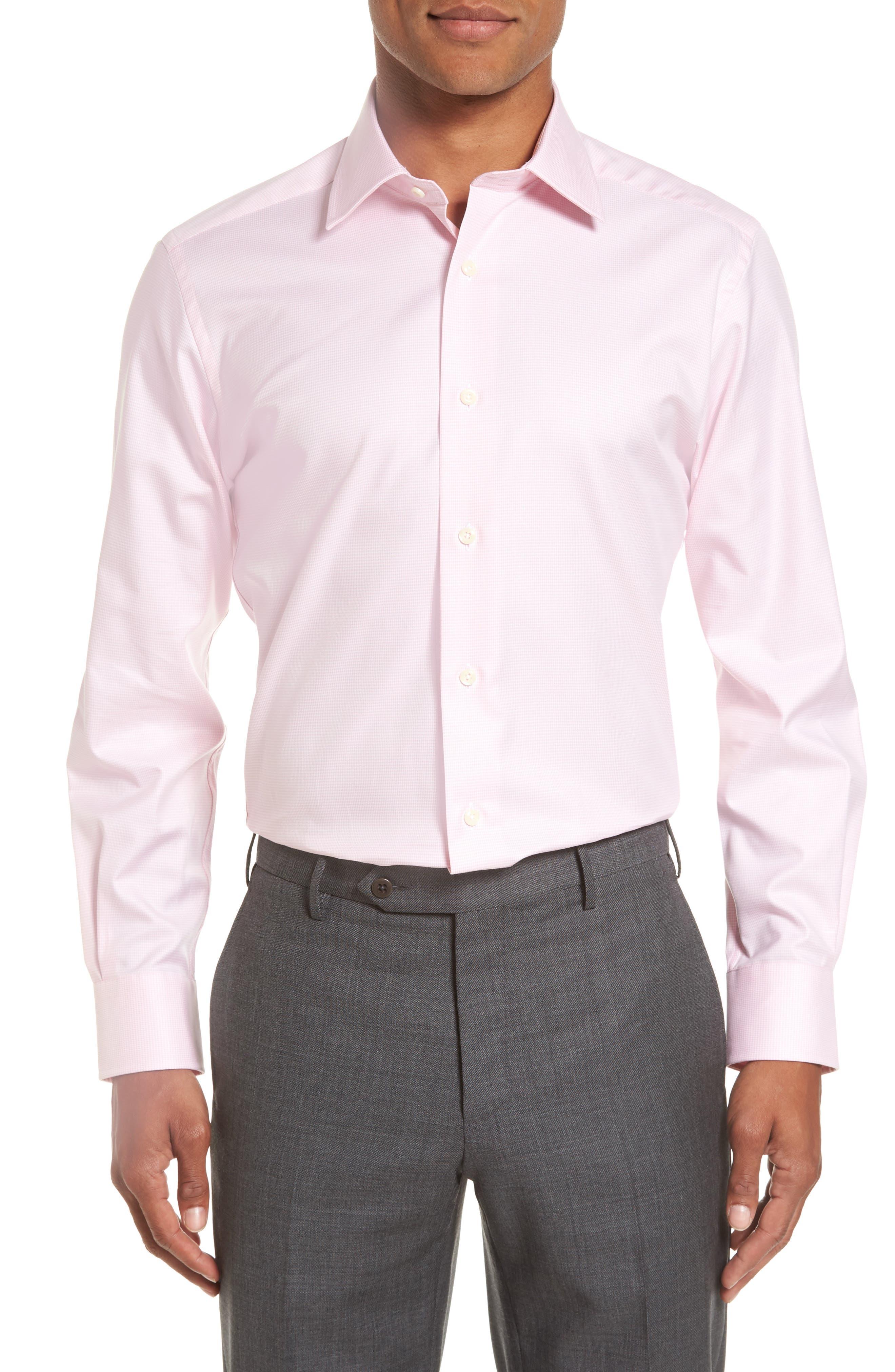 Trim Fit Houndstooth Dress Shirt,                         Main,                         color, Pink