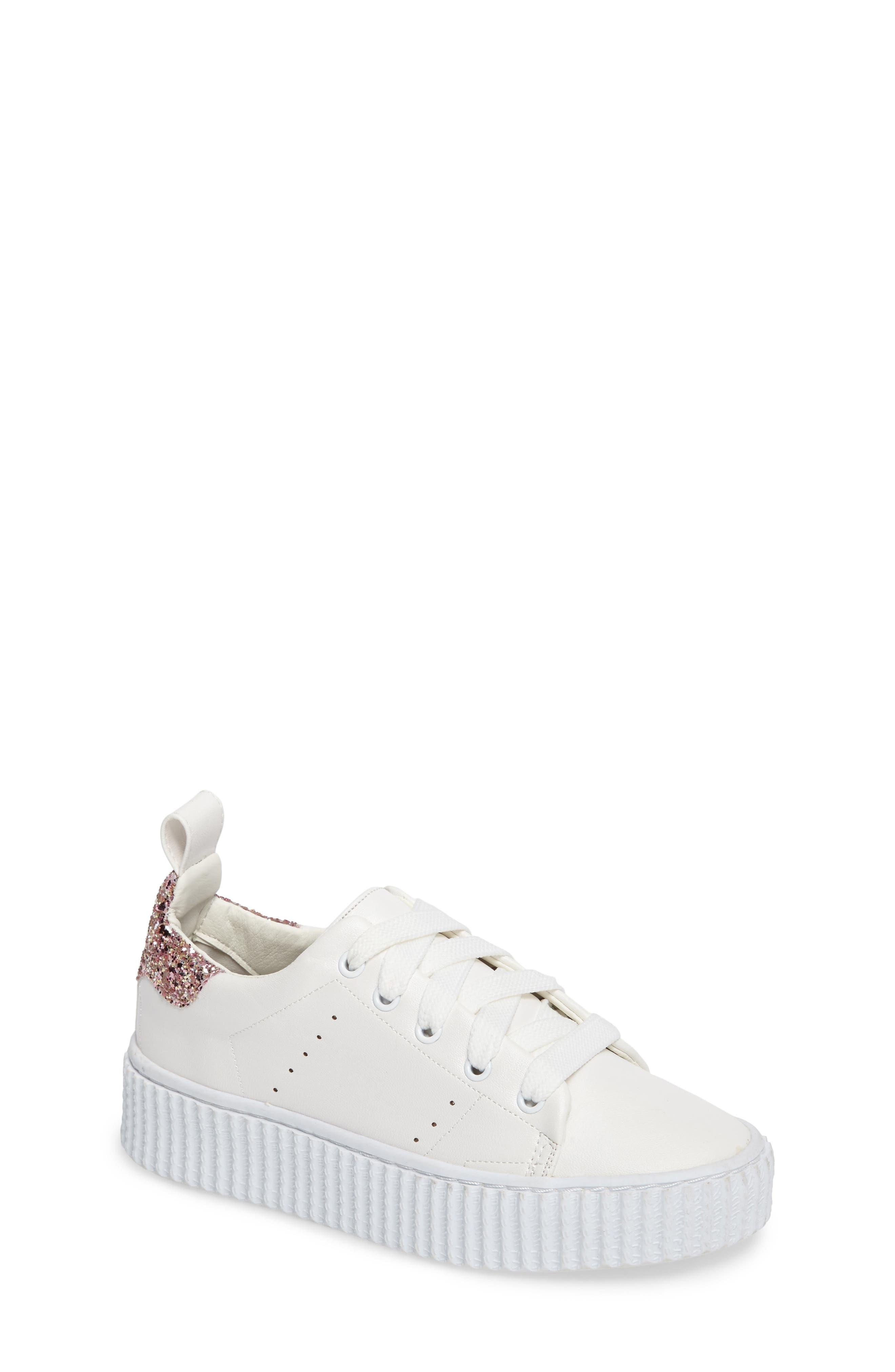 Wren Glitter Heel Sneaker,                             Main thumbnail 1, color,                             White