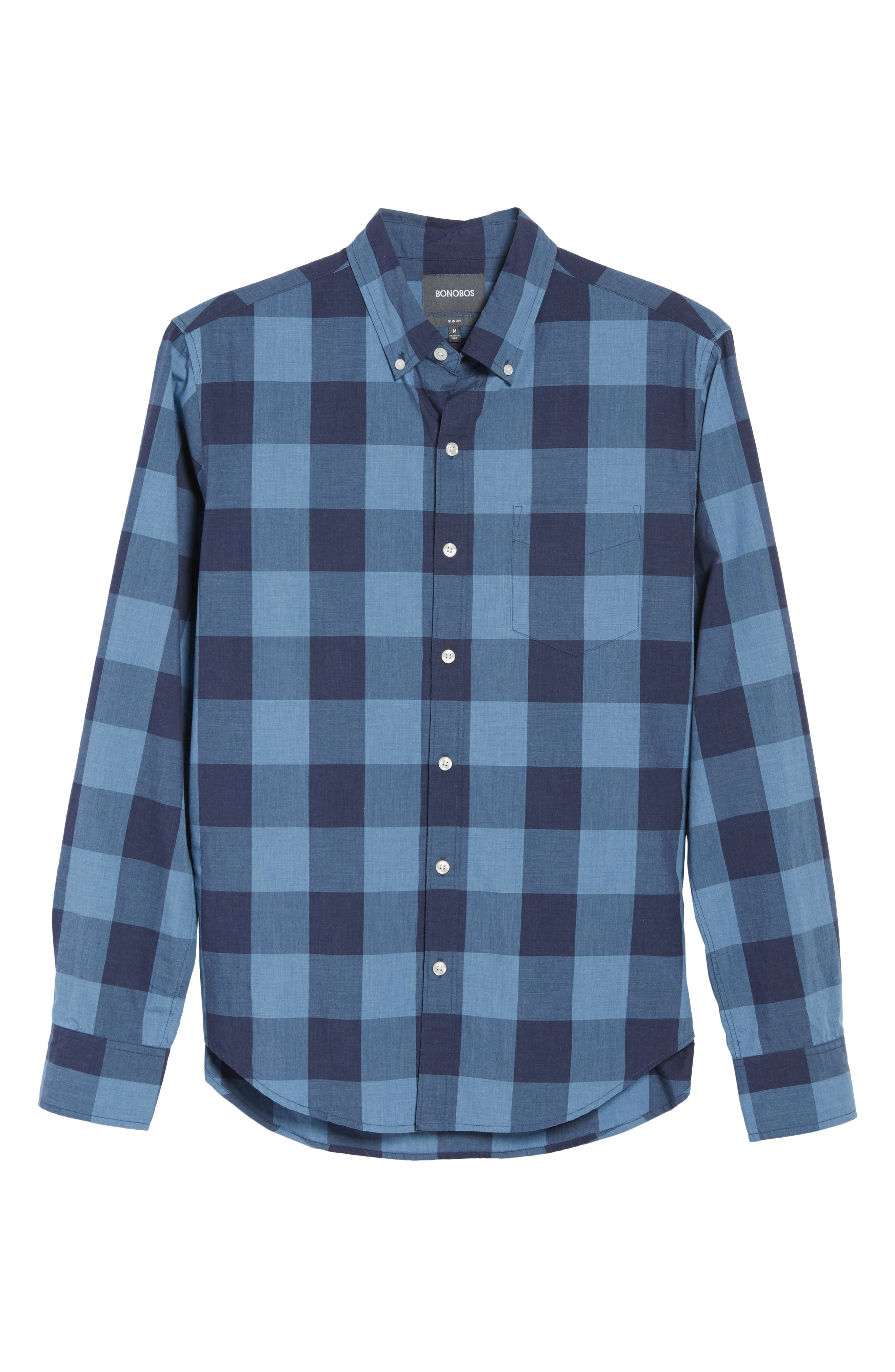 Slim Fit Washed Check Sport Shirt,                             Alternate thumbnail 6, color,                             Blue Grey Plaid