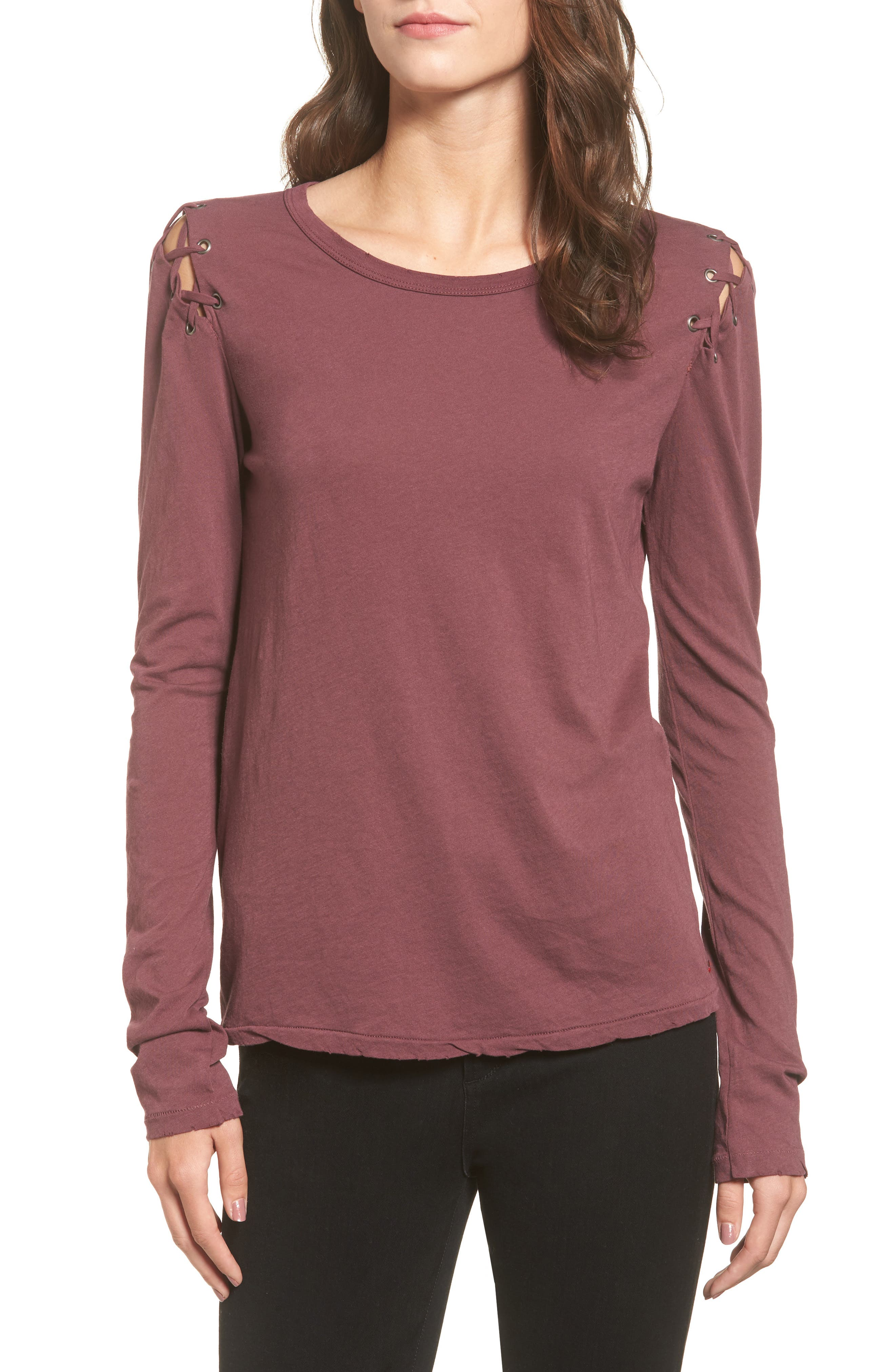 Darcia Lace-Up Tee,                         Main,                         color, Merlot