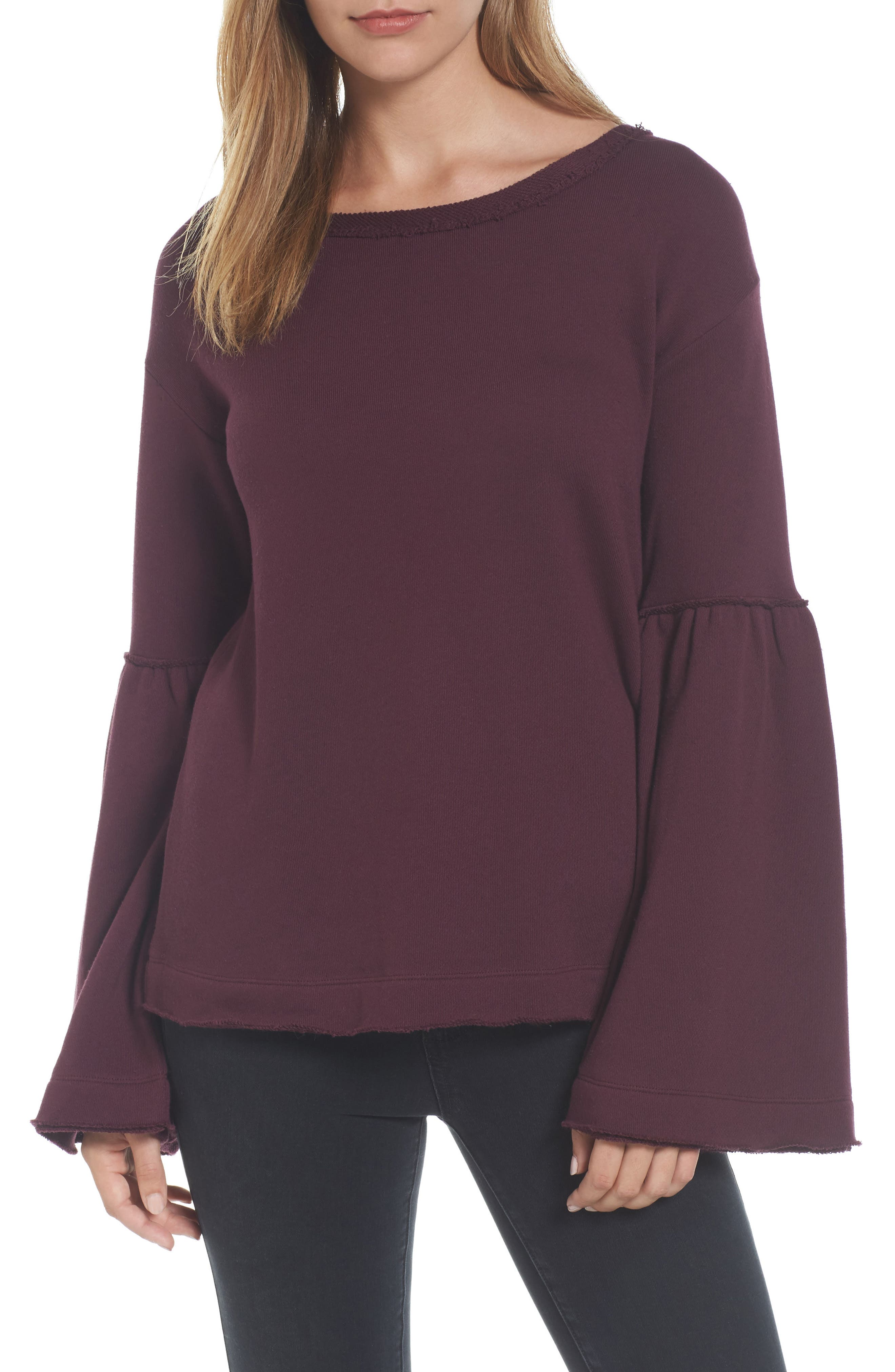 Caslon® Bell Sleeve Sweatshirt (Regular & Petite)