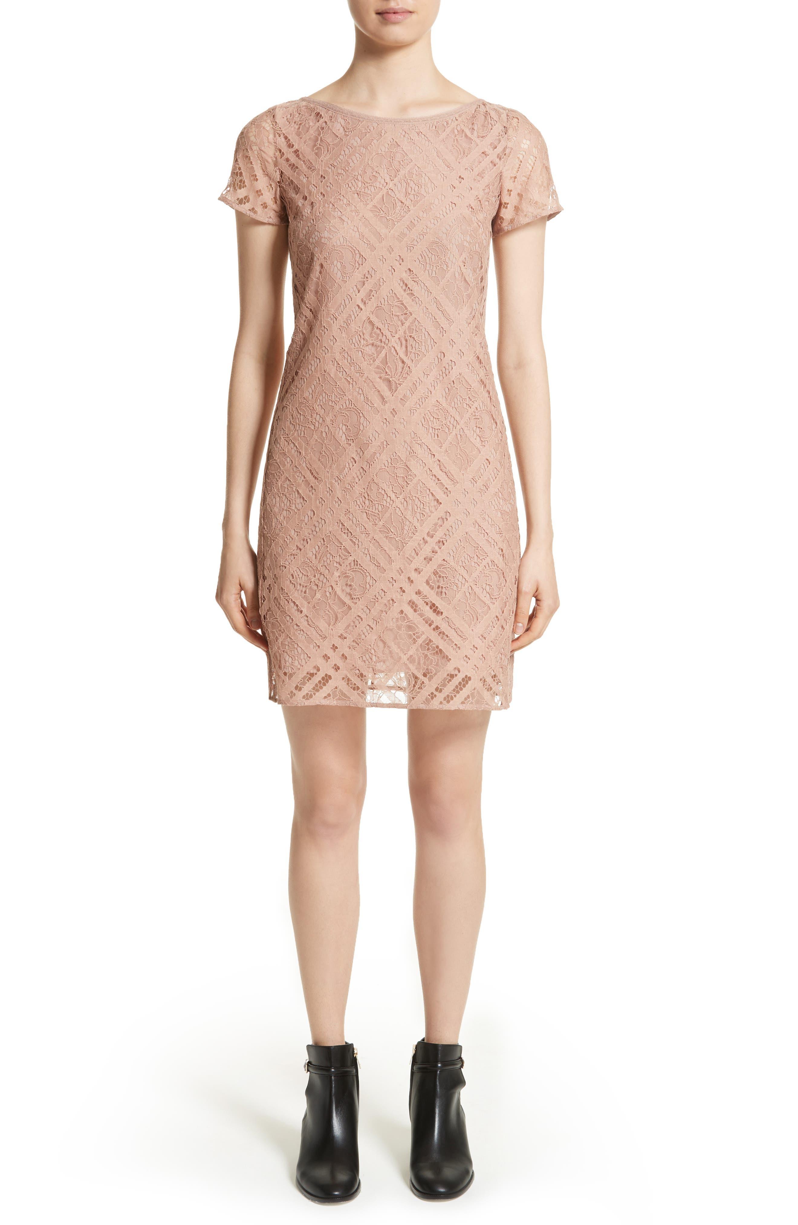 Burberry Liberty Check Lace Shift Dress