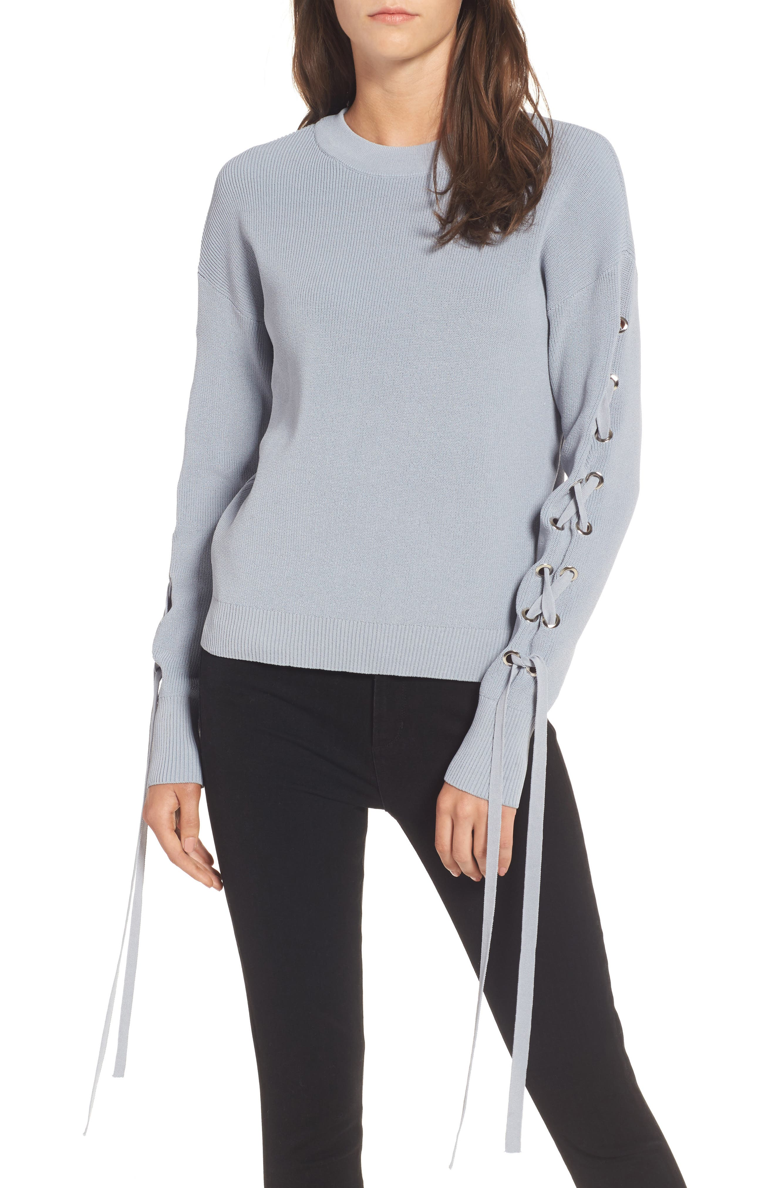 Alternate Image 1 Selected - J.O.A. Lace-Up Sleeve Sweater