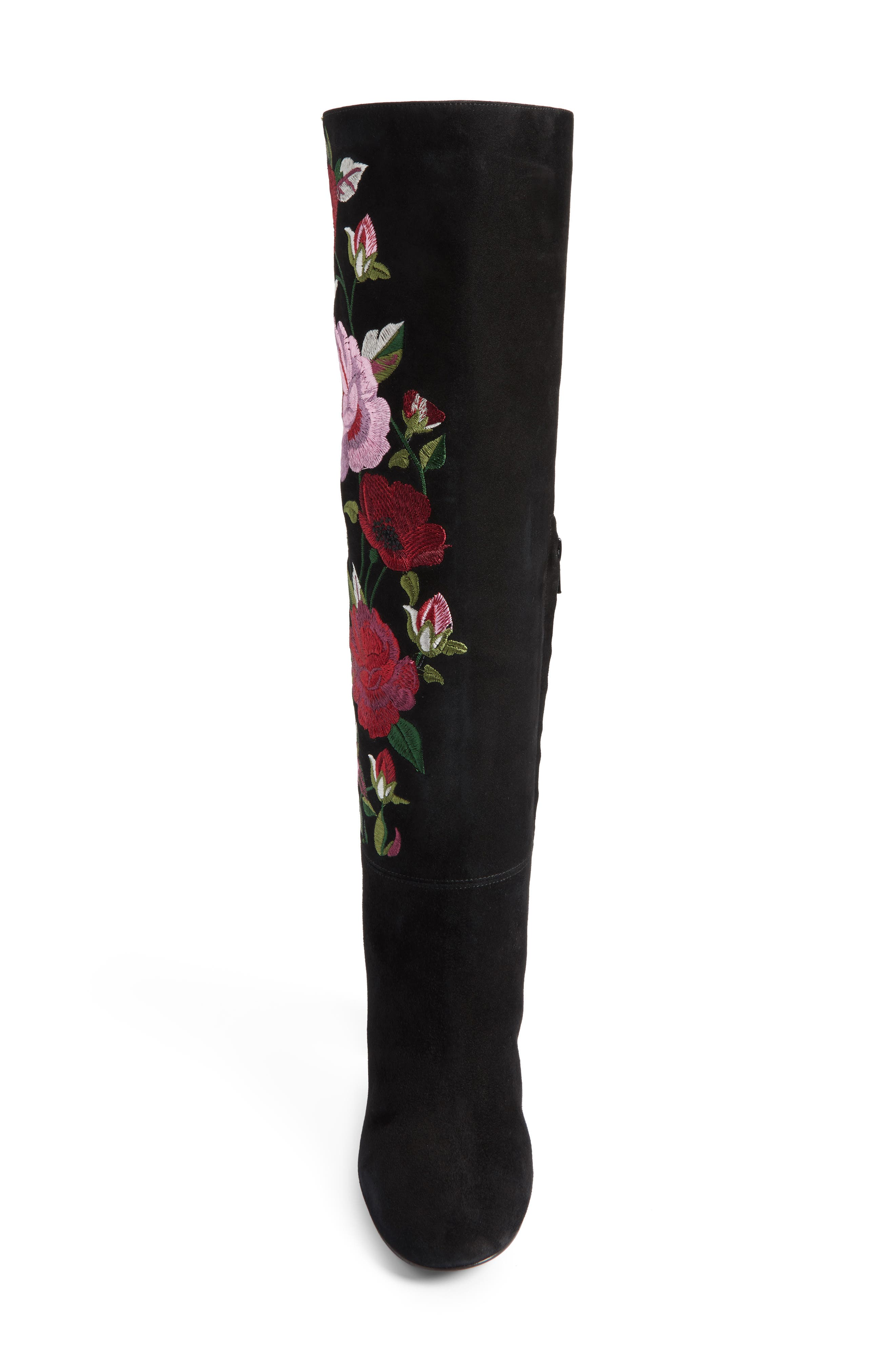 greenfield flower embroidered boot,                             Alternate thumbnail 5, color,                             Black Suede