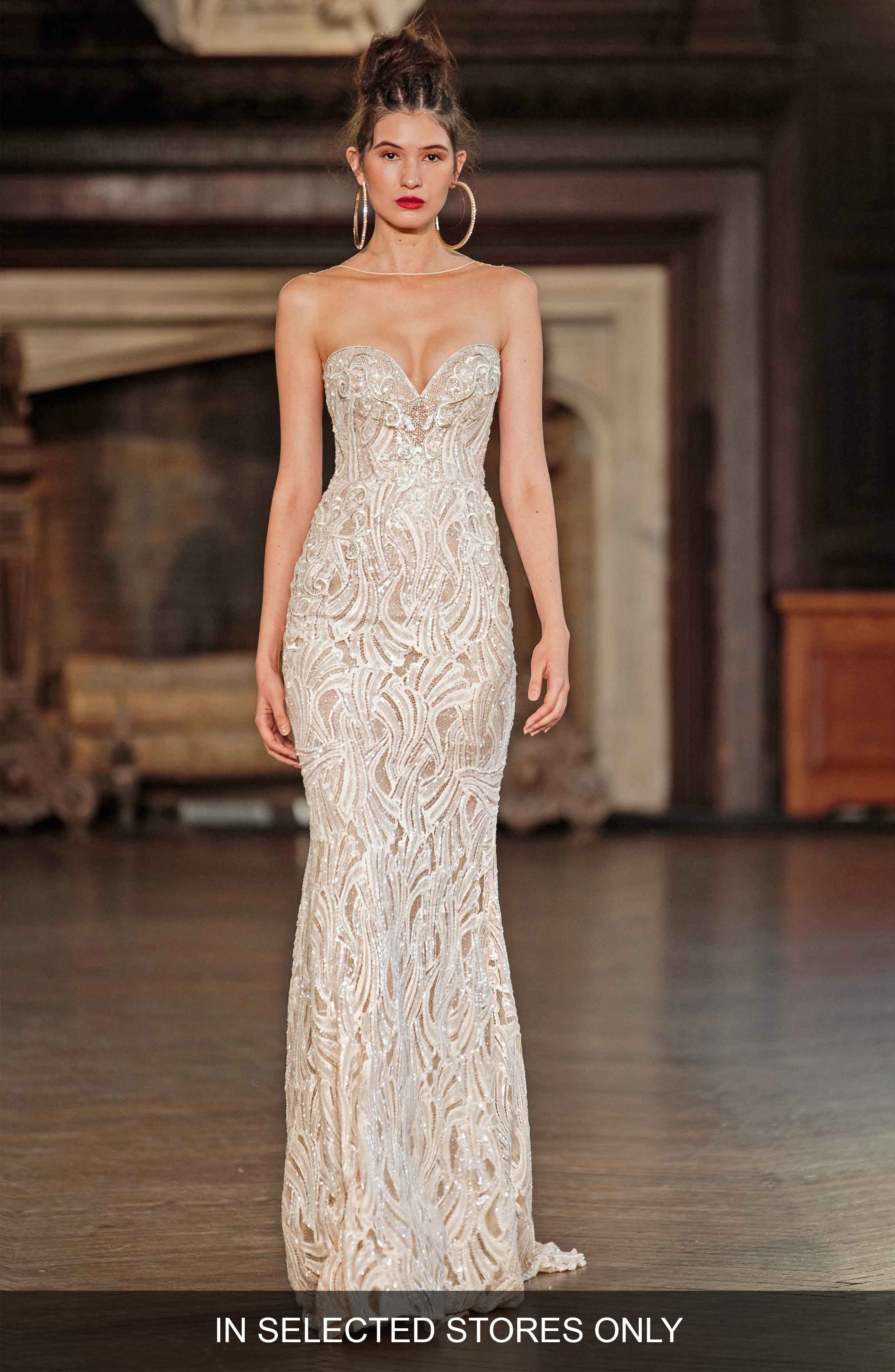 Illusion Beaded Mermaid Gown,                         Main,                         color, Ivory