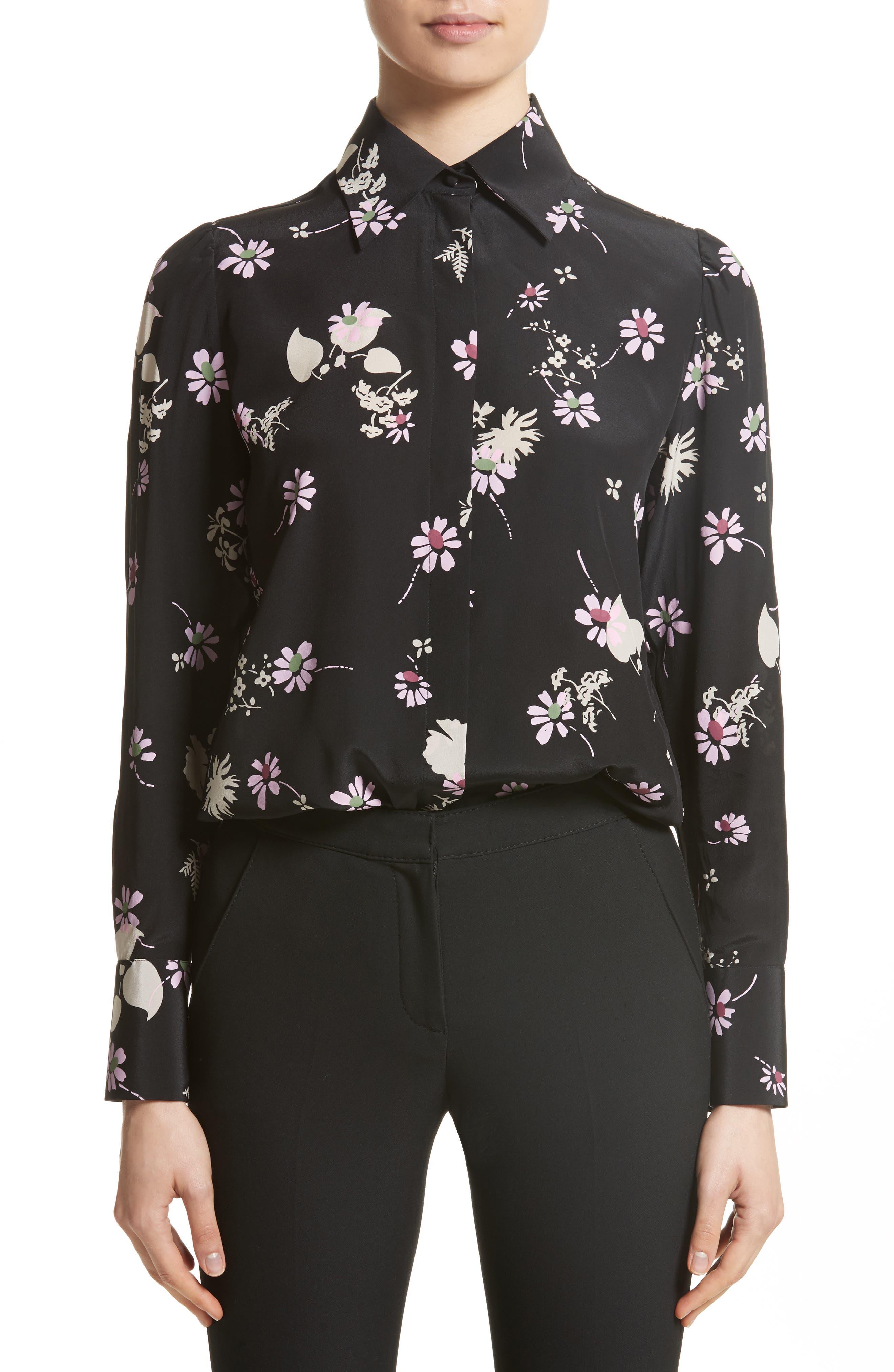 Flowers Fall Silk Shirt,                         Main,                         color, Black