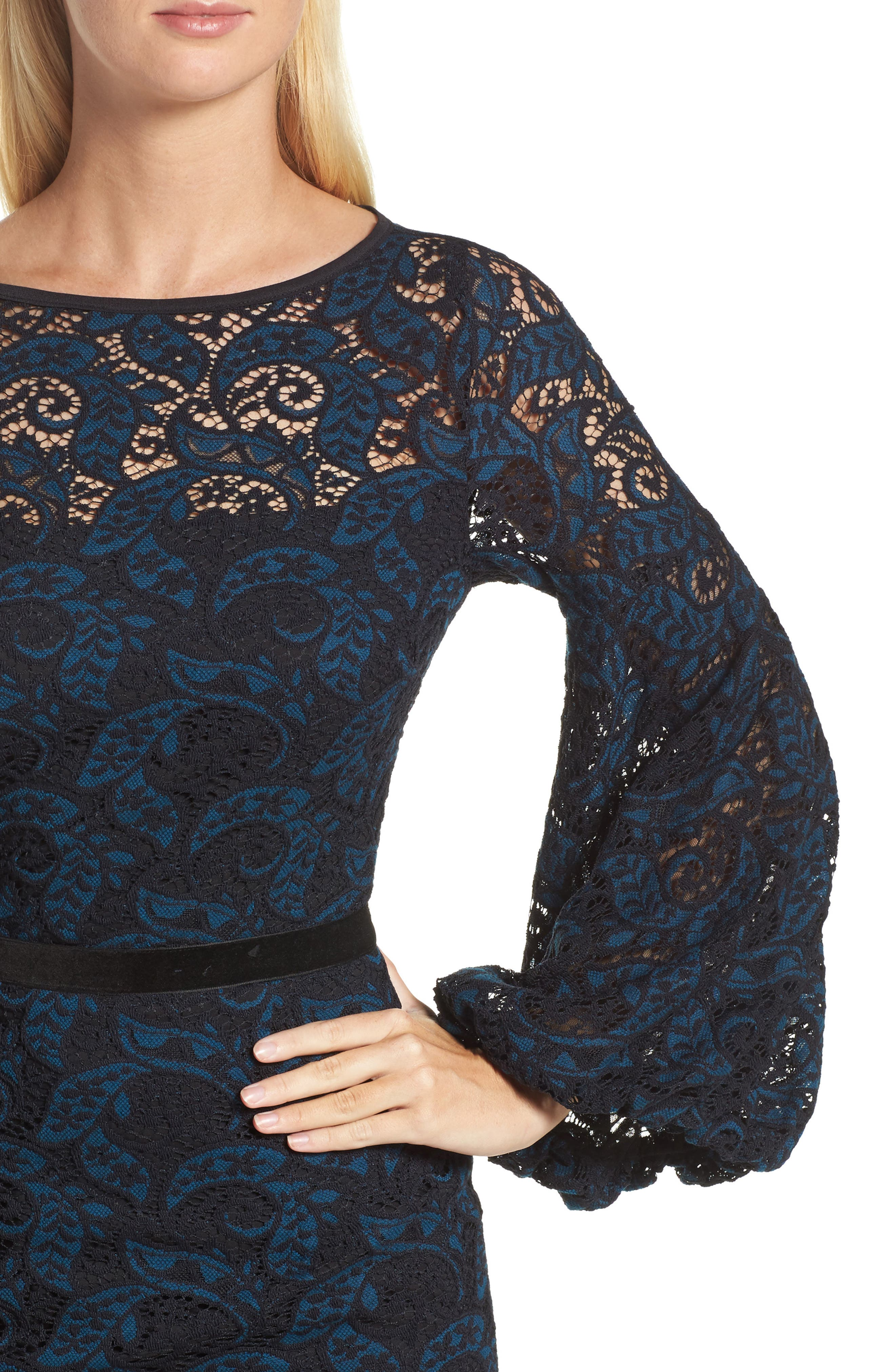 Lace Bishop Sleeve Dress,                             Alternate thumbnail 4, color,                             Blue/ Black