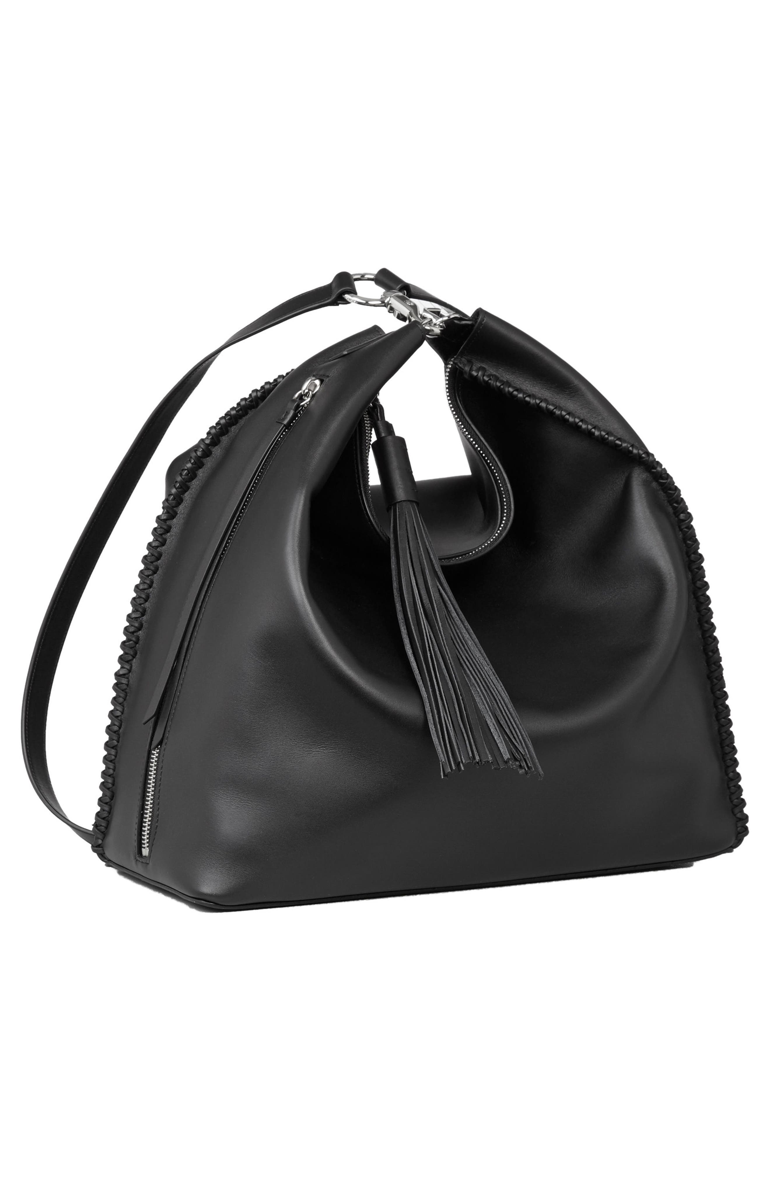Pearl Convertible Leather Backpack,                             Alternate thumbnail 9, color,                             Black