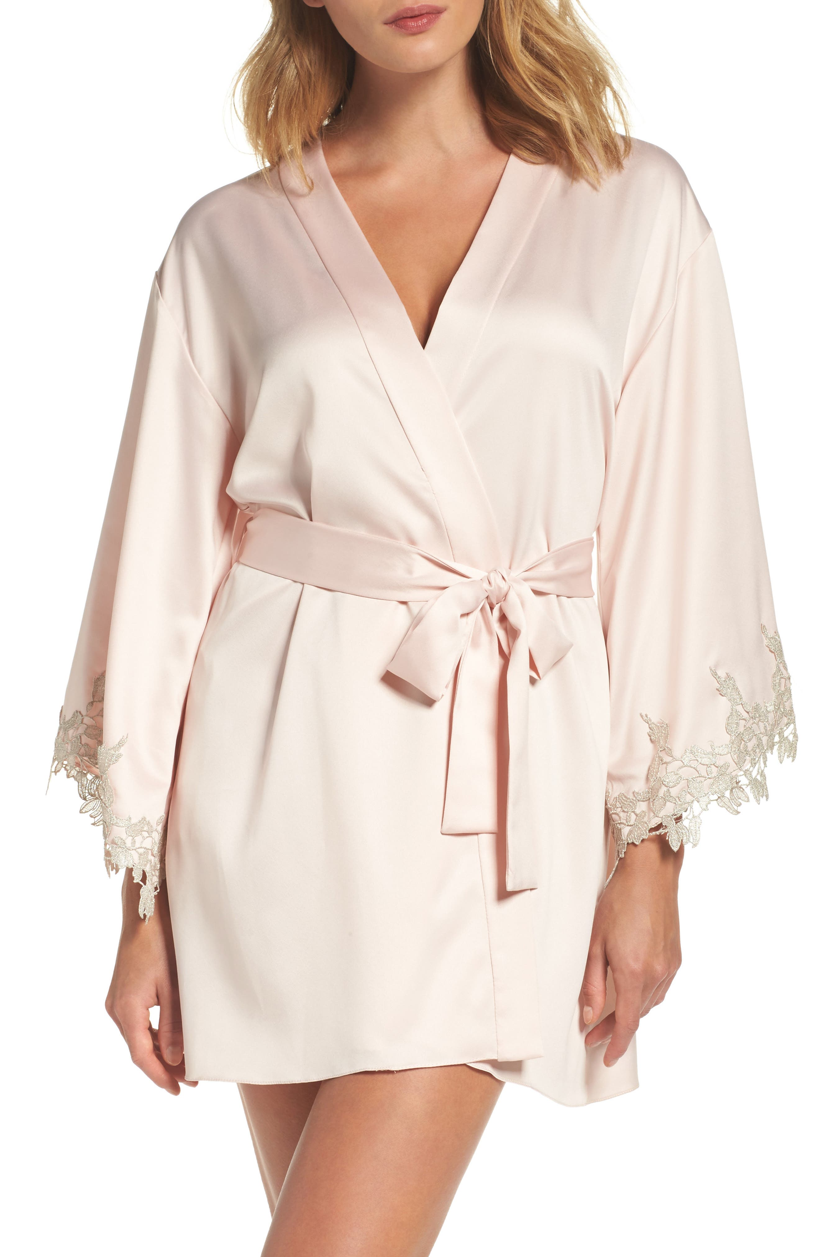 Alessia Charm Satin Robe,                         Main,                         color, Buff