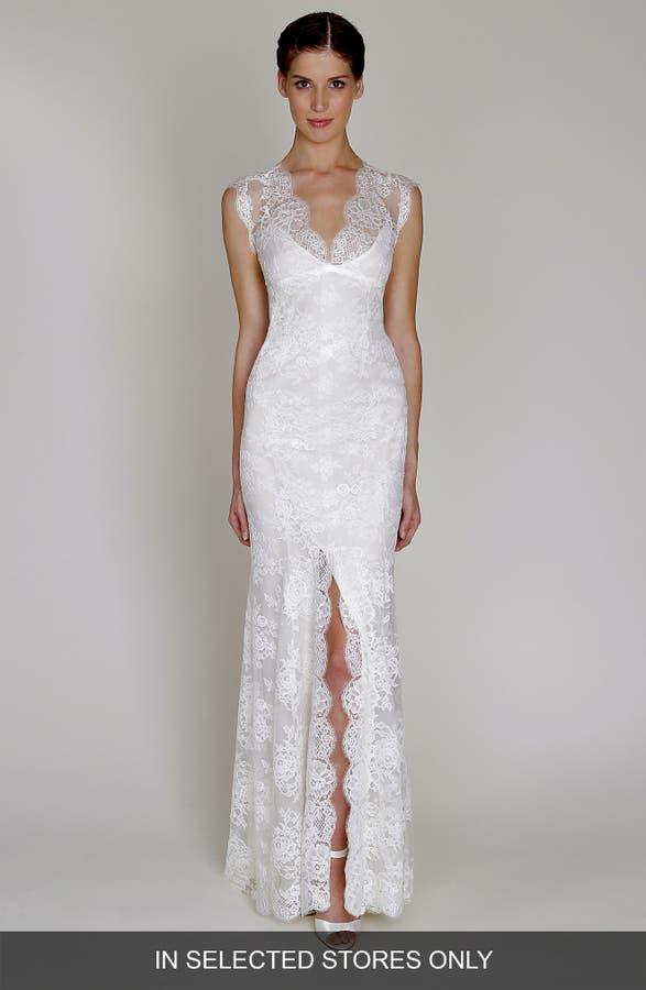 Bliss monique lhuillier chantilly lace open back wedding dress main image bliss monique lhuillier chantilly lace open back wedding dress junglespirit Images