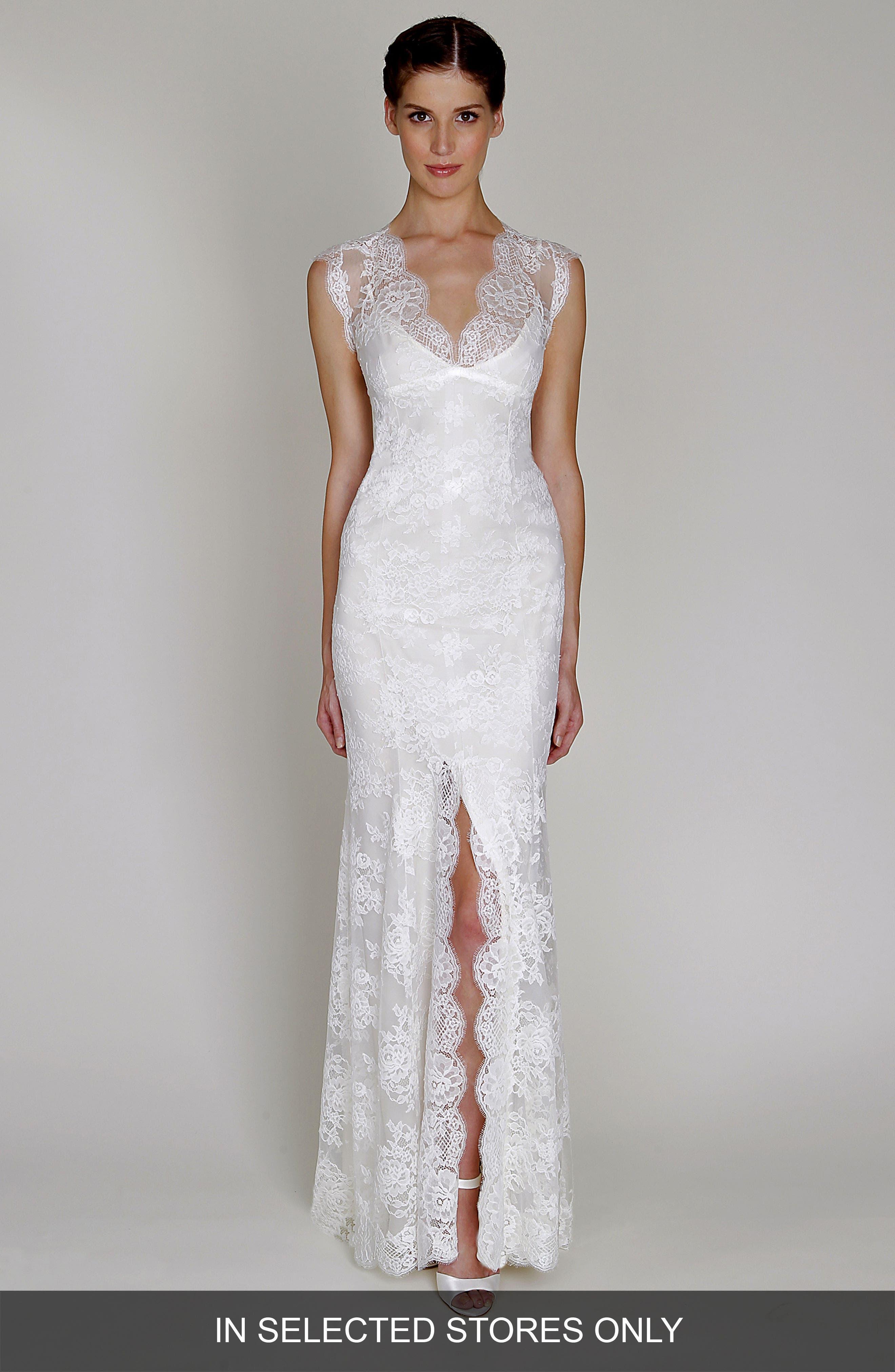 BLISS Monique Lhuillier Chantilly Lace Open Back Wedding Dress