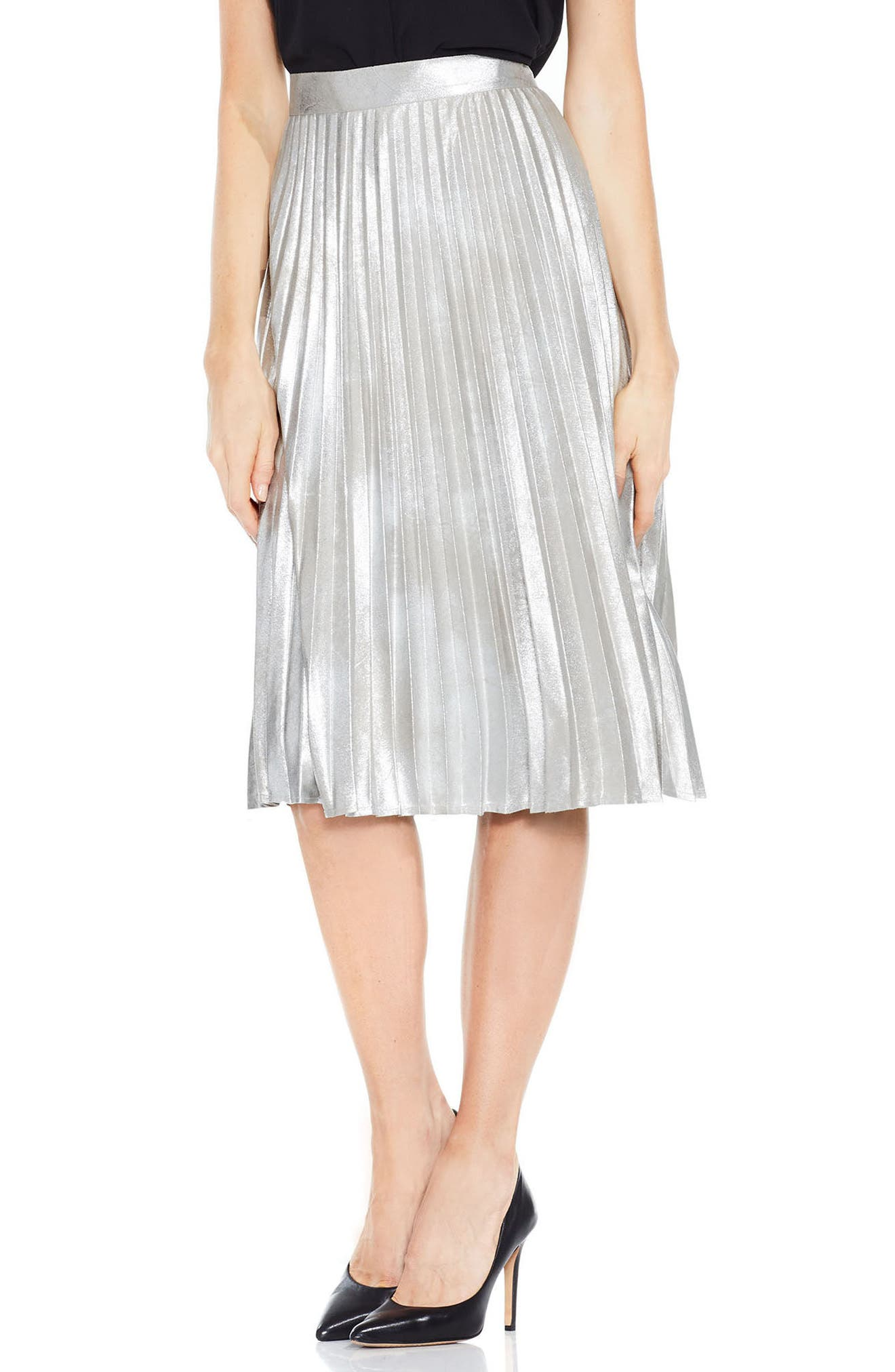 Vince Camuto Foiled Pleat Skirt