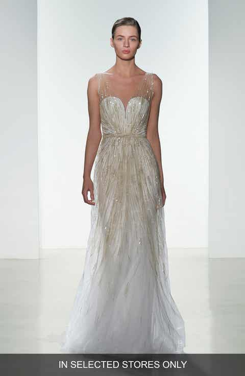 Amsale Talia Hand Beaded Low V Neck Gown
