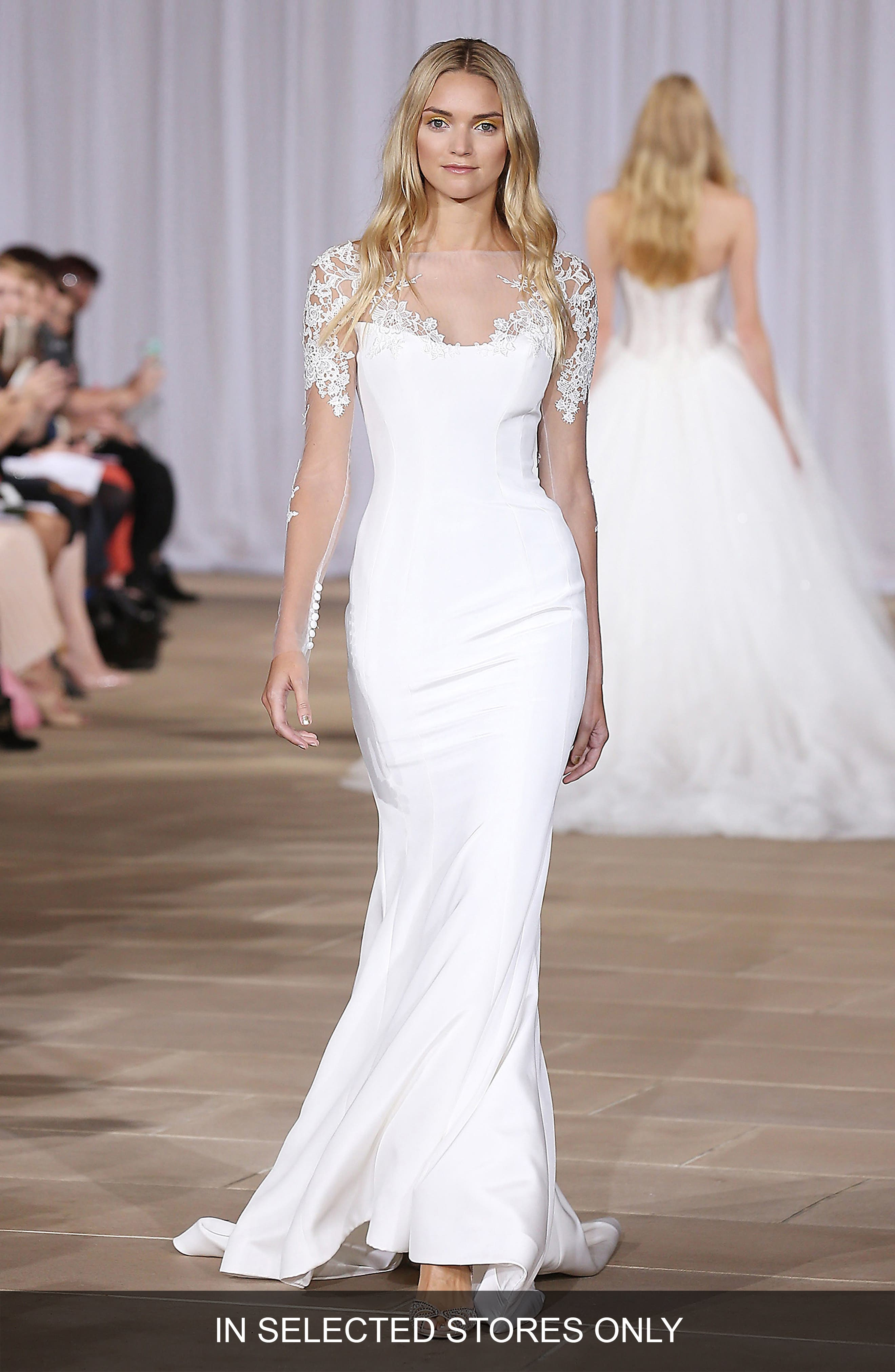 Twilight Illusion Neckline Silk Crepe Sheath Gown,                             Main thumbnail 1, color,                             Off-White