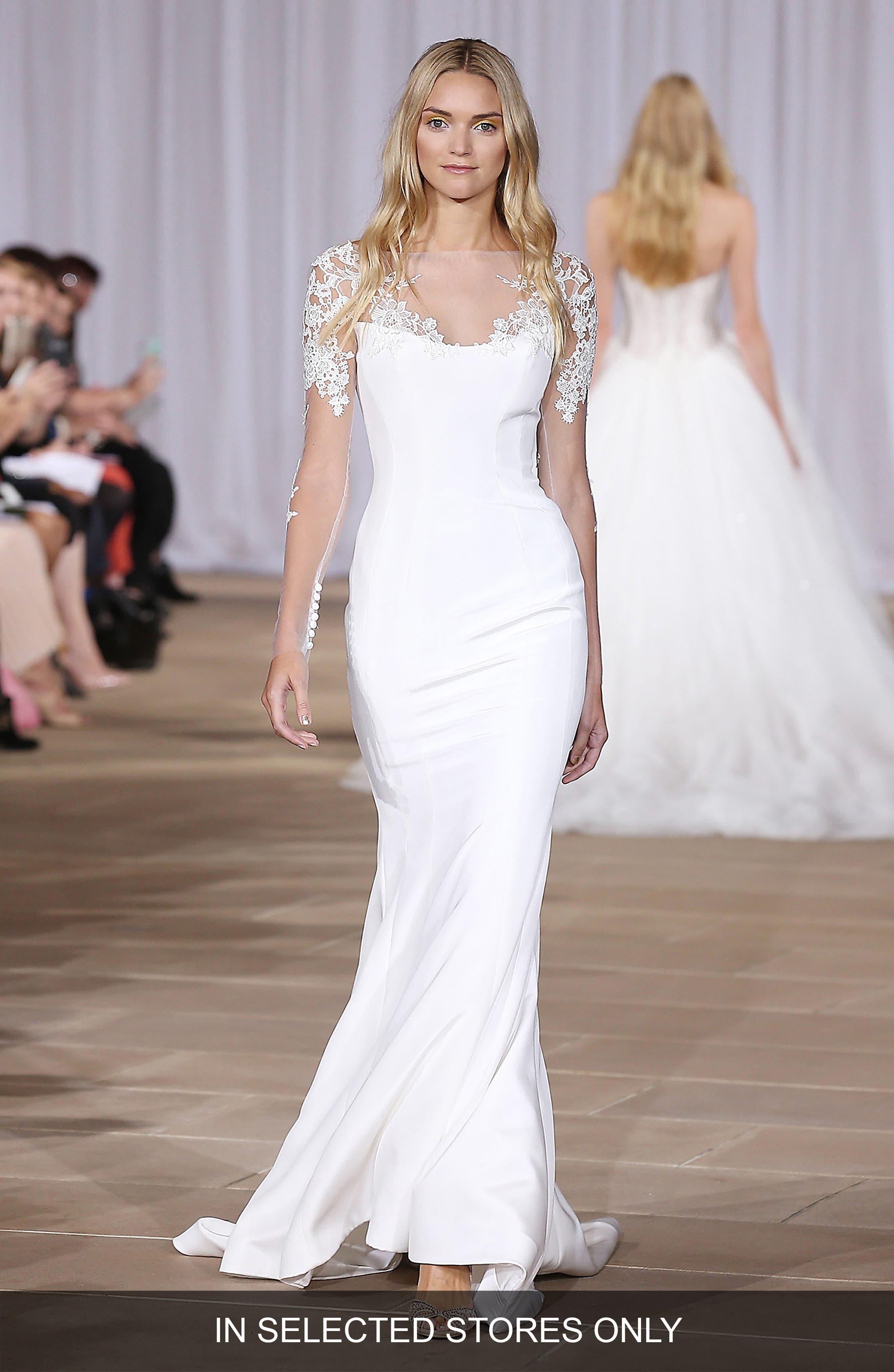 Twilight Illusion Neckline Silk Crepe Sheath Gown,                         Main,                         color, Off-White