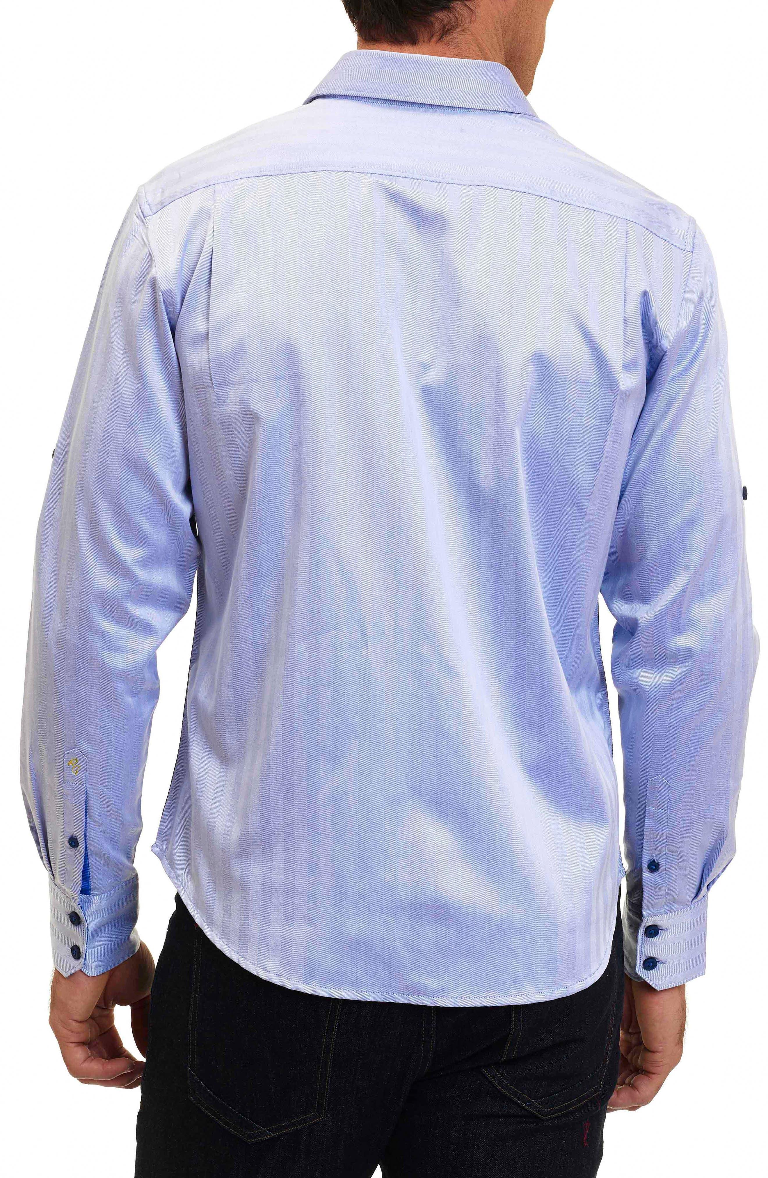 Canton Classic Fit Herringbone Sport Shirt,                             Alternate thumbnail 3, color,                             Cobalt