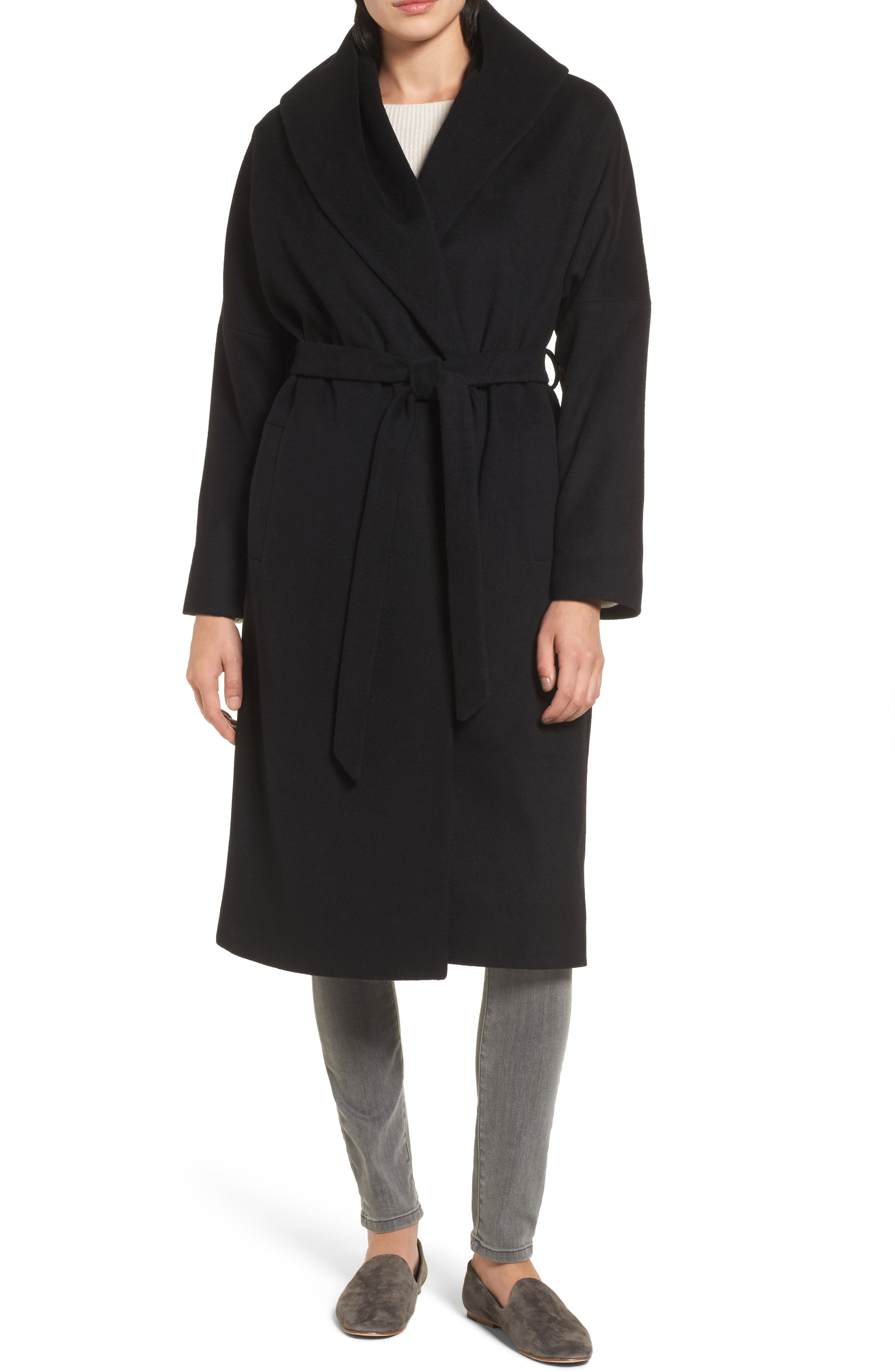 Belted Duster Coat,                             Main thumbnail 1, color,                             Black