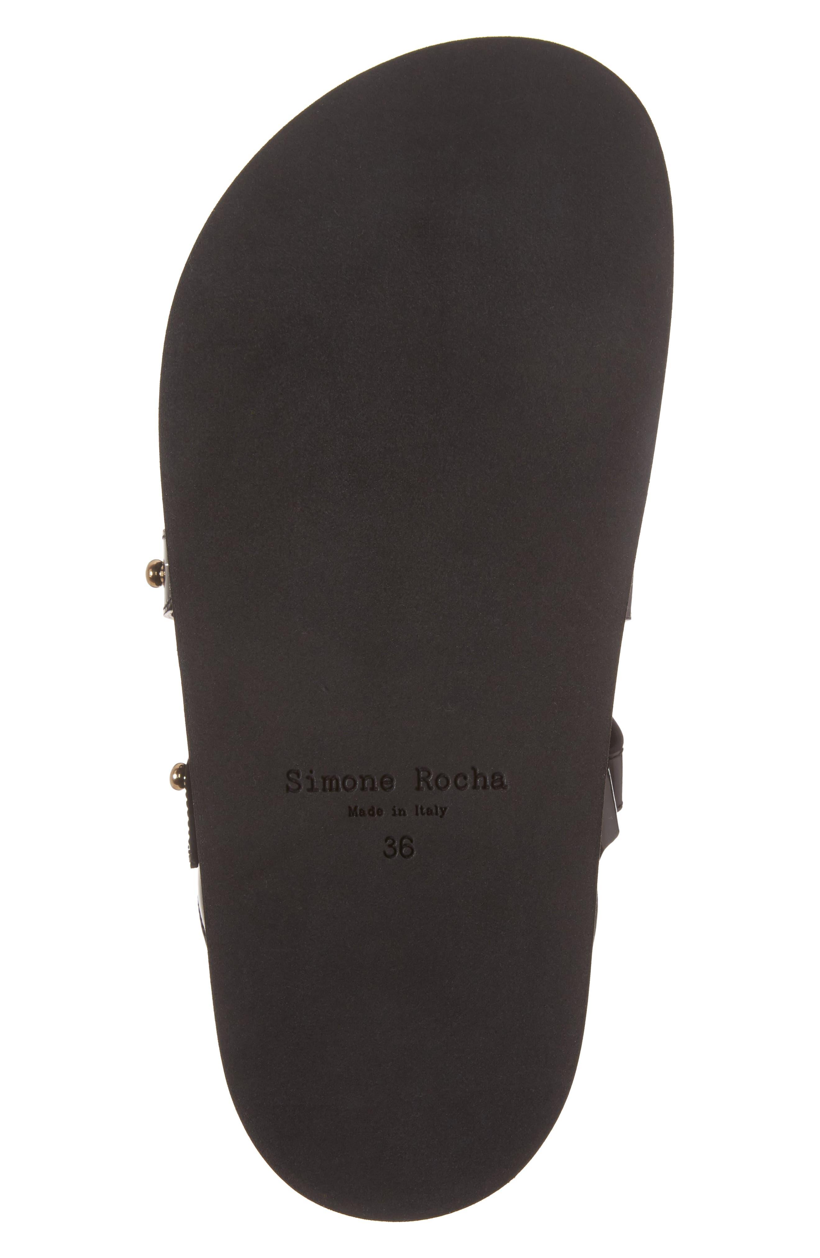 Beaded Leather Slide Sandal,                             Alternate thumbnail 6, color,                             Black