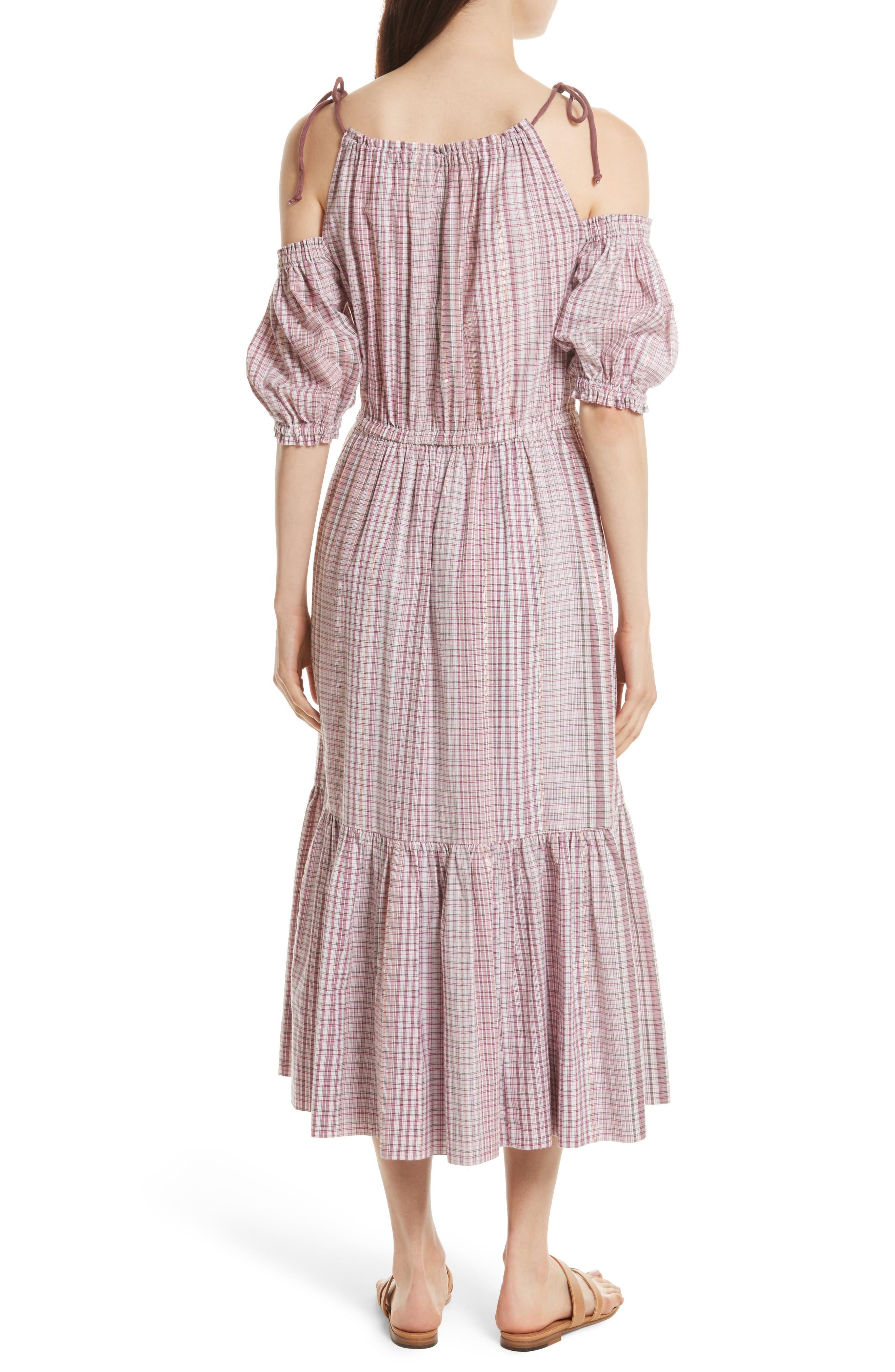 Alternate Image 2  - La Vie Rebecca Taylor Cold Shoulder Lurex® Plaid Midi Dress