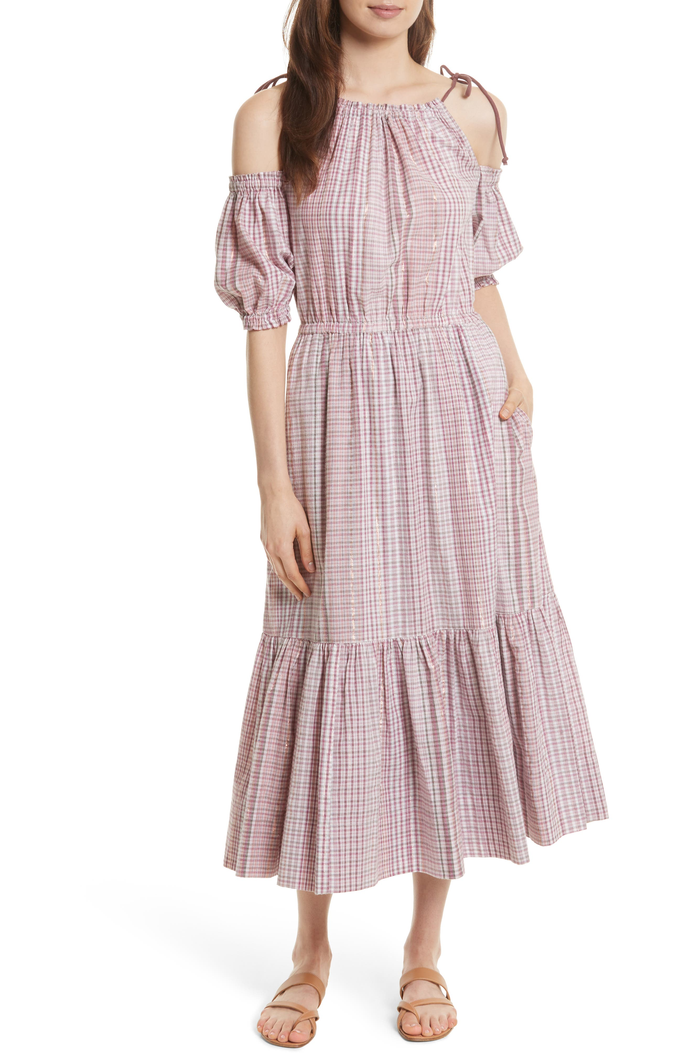 Cold Shoulder Lurex<sup>®</sup> Plaid Midi Dress,                         Main,                         color, Tea Rose Combo