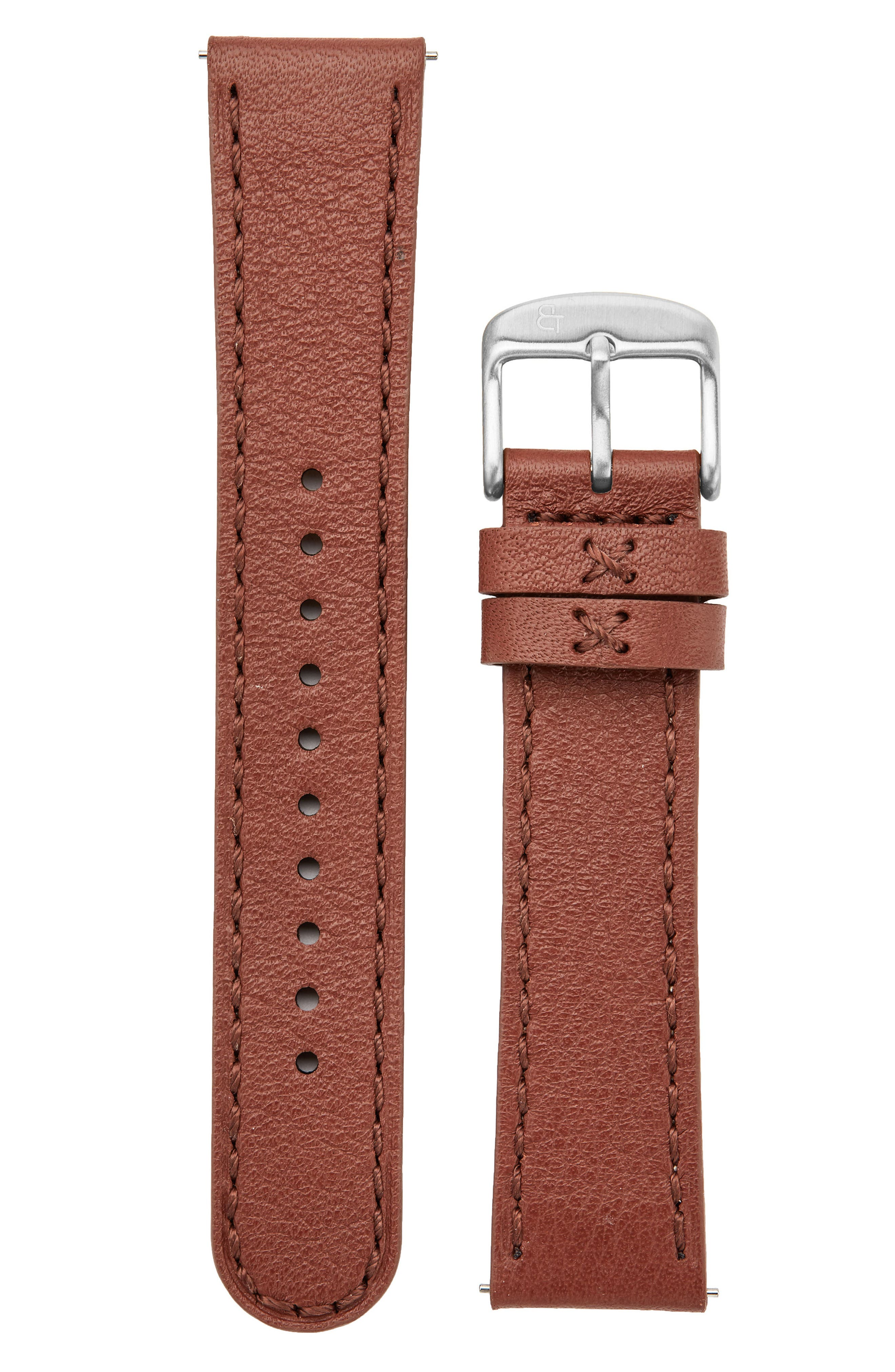 Leather Watch Strap, 20mm,                         Main,                         color, Brown