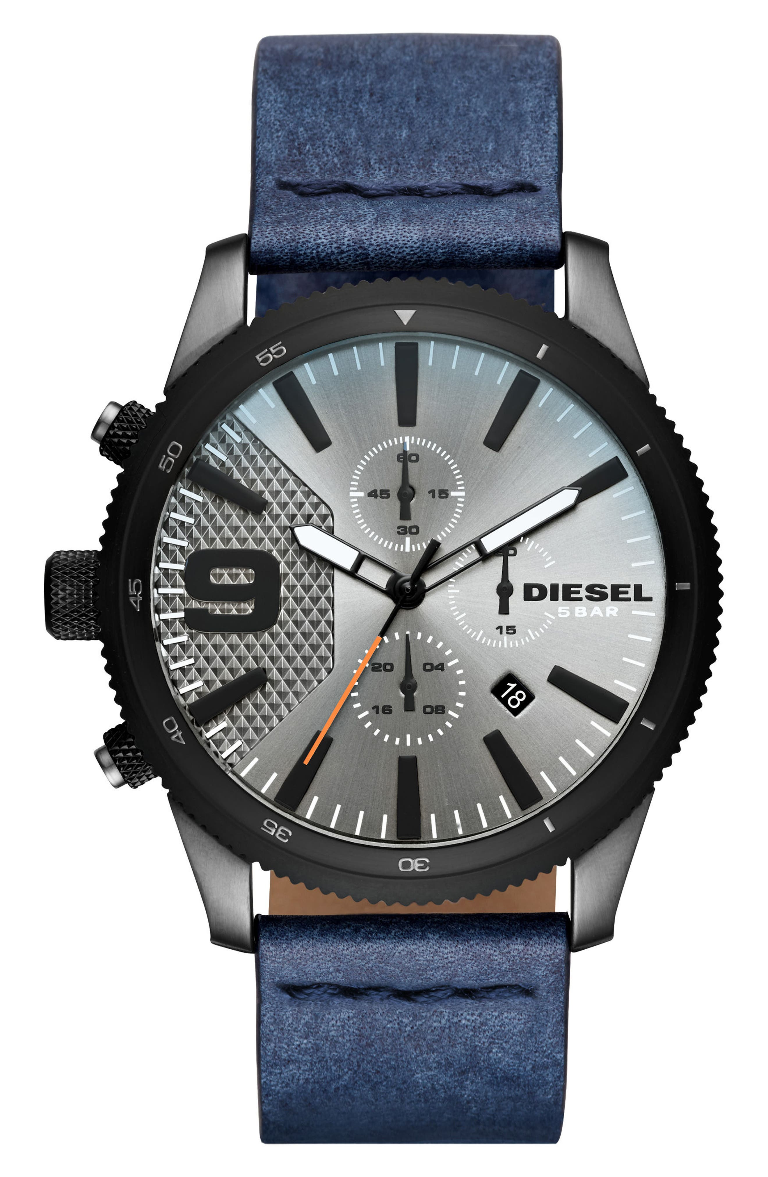 DIESEL<SUP>®</SUP> The Rasp Chronograph Leather Strap Watch, 46mm