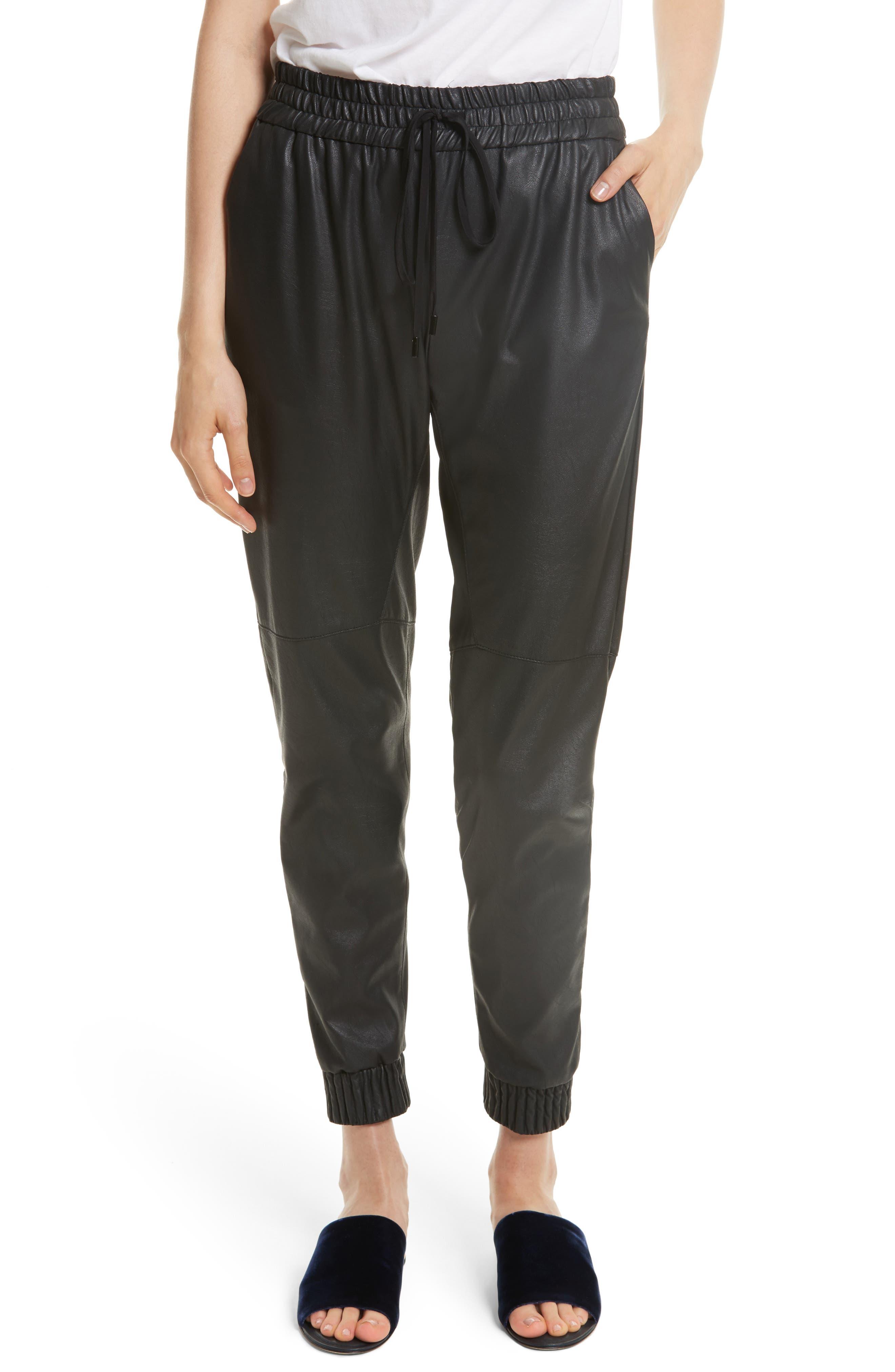 Faux Leather Track Pants,                         Main,                         color, Black