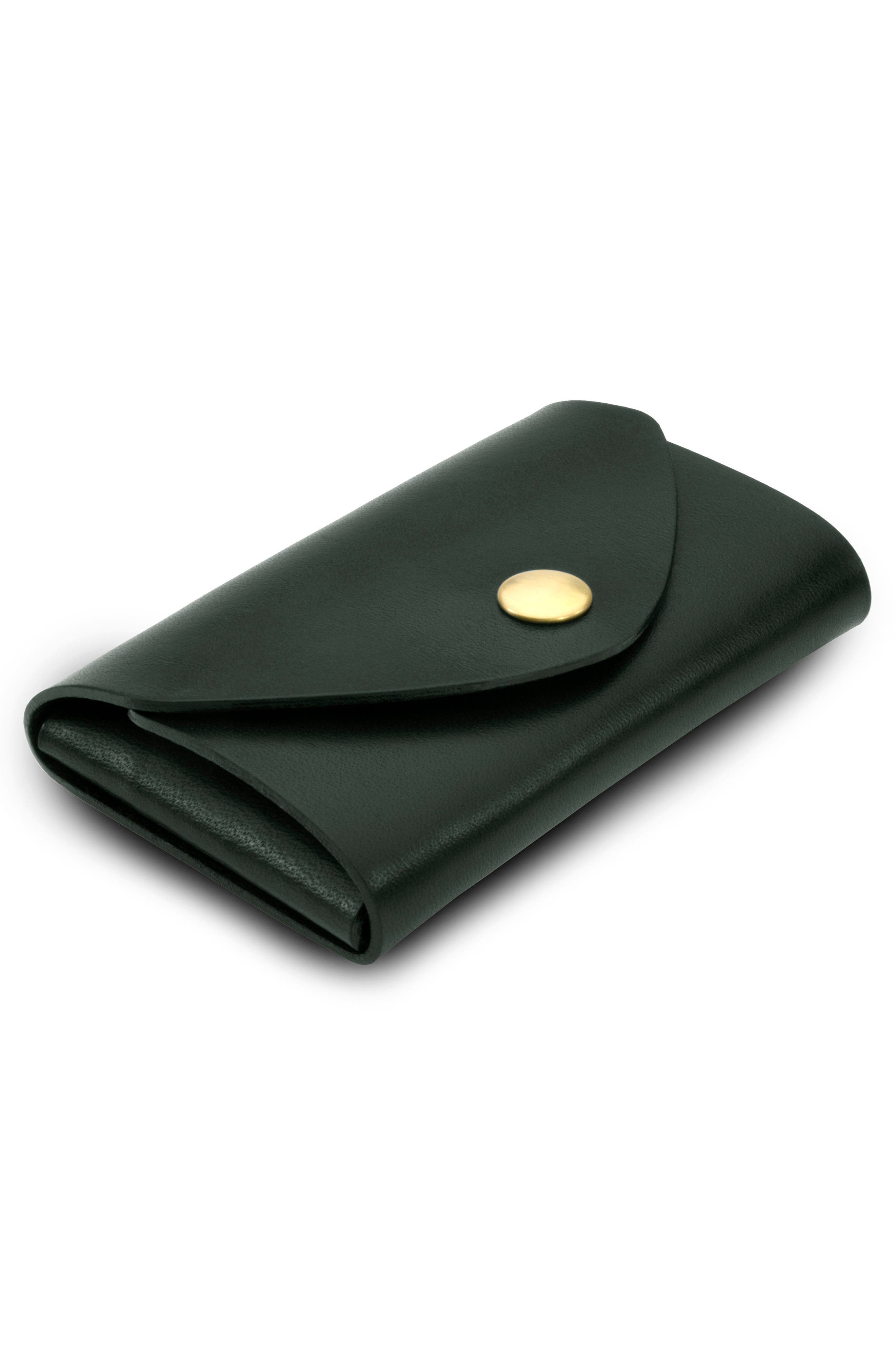 Leather Snap Pouch,                             Alternate thumbnail 2, color,                             Green