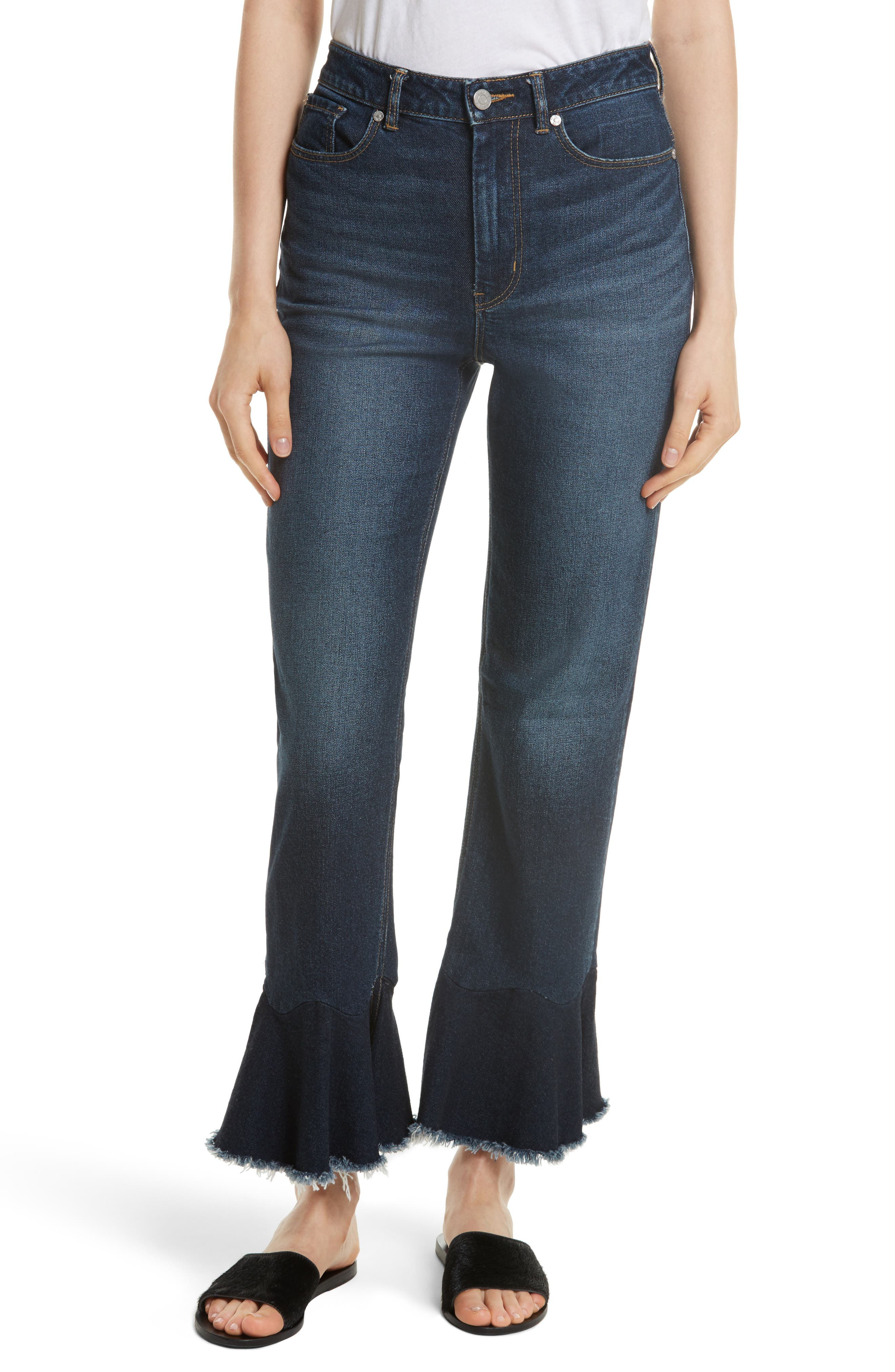 Ruffle Hem Jeans,                             Main thumbnail 1, color,                             Blue Midnight Wash