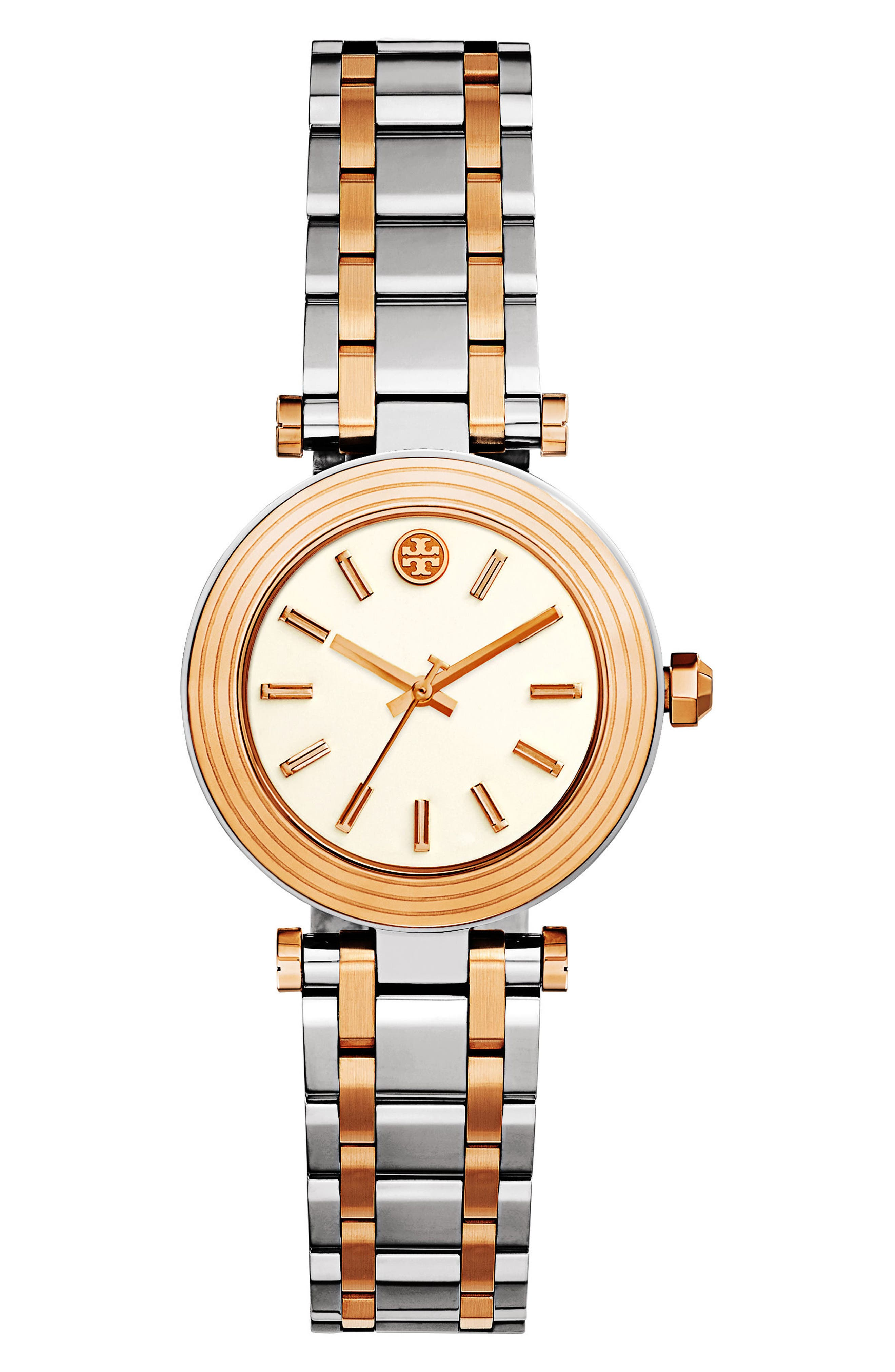 Classic-T Bracelet Watch, 30mm,                         Main,                         color, Silver/ Ivory/ Rose Gold
