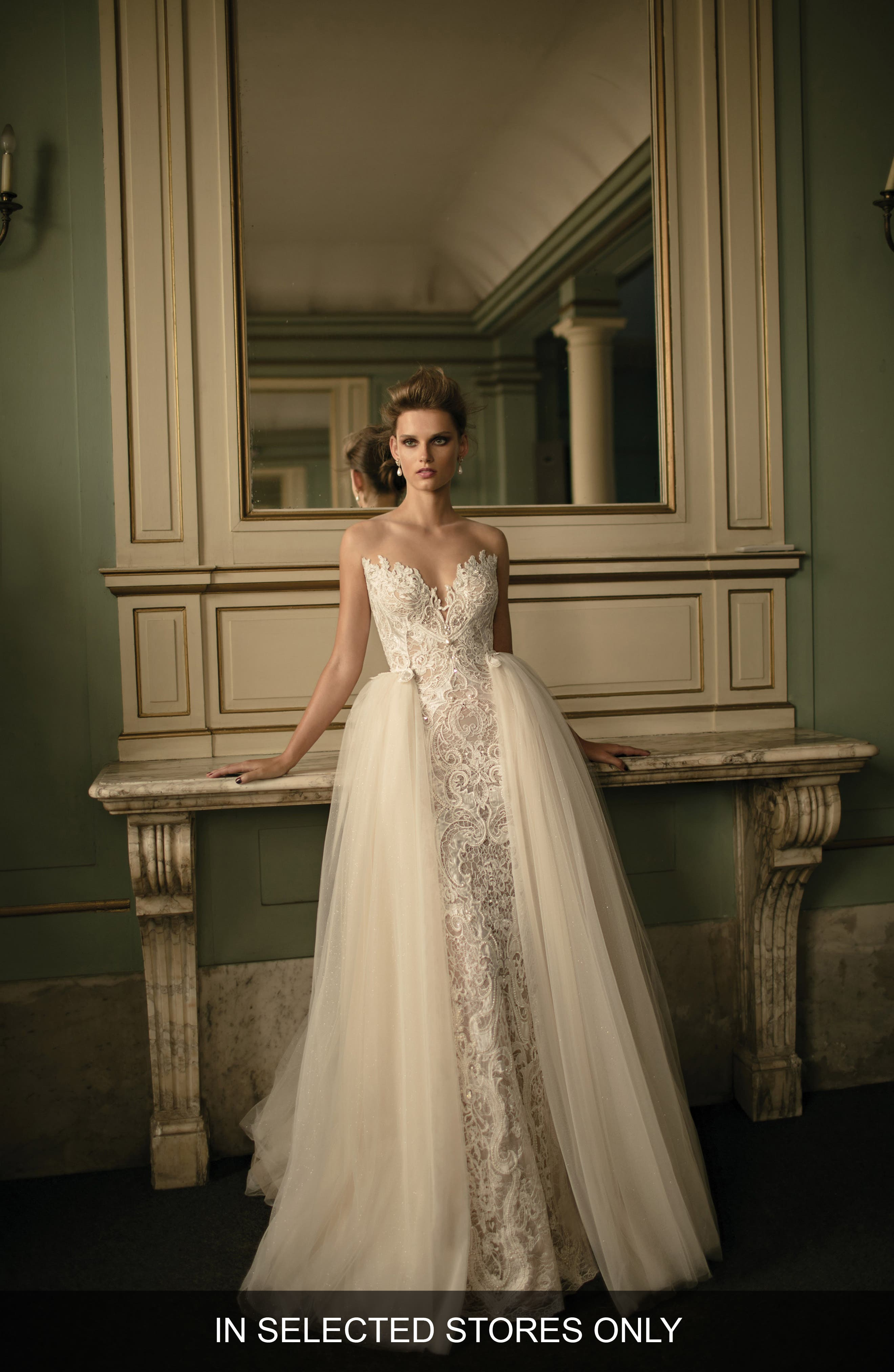 Beaded Lace & Tulle Ballgown,                         Main,                         color, Ivory
