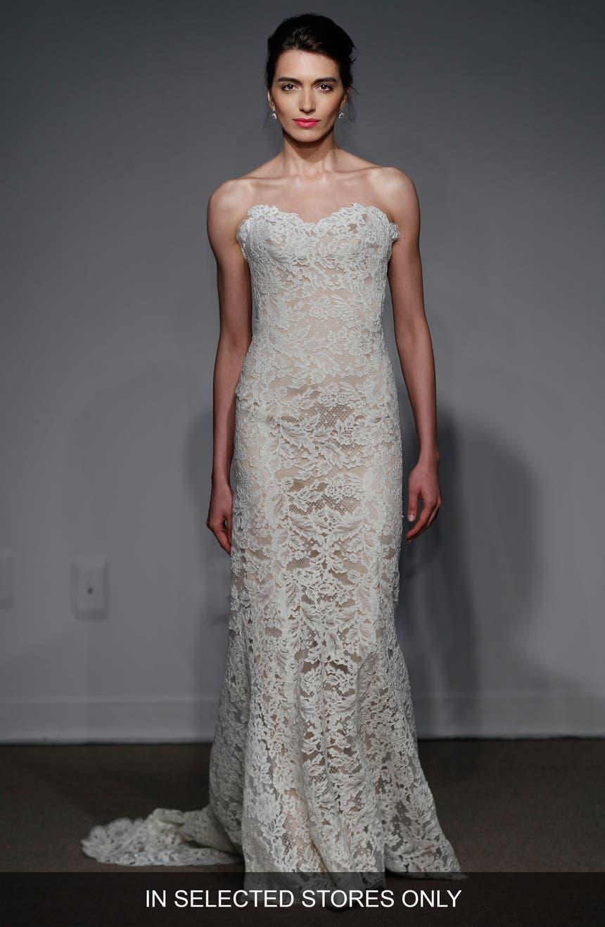 Anna Maier Couture Lyon Strapless Lace Column Gown Regular Plus Size