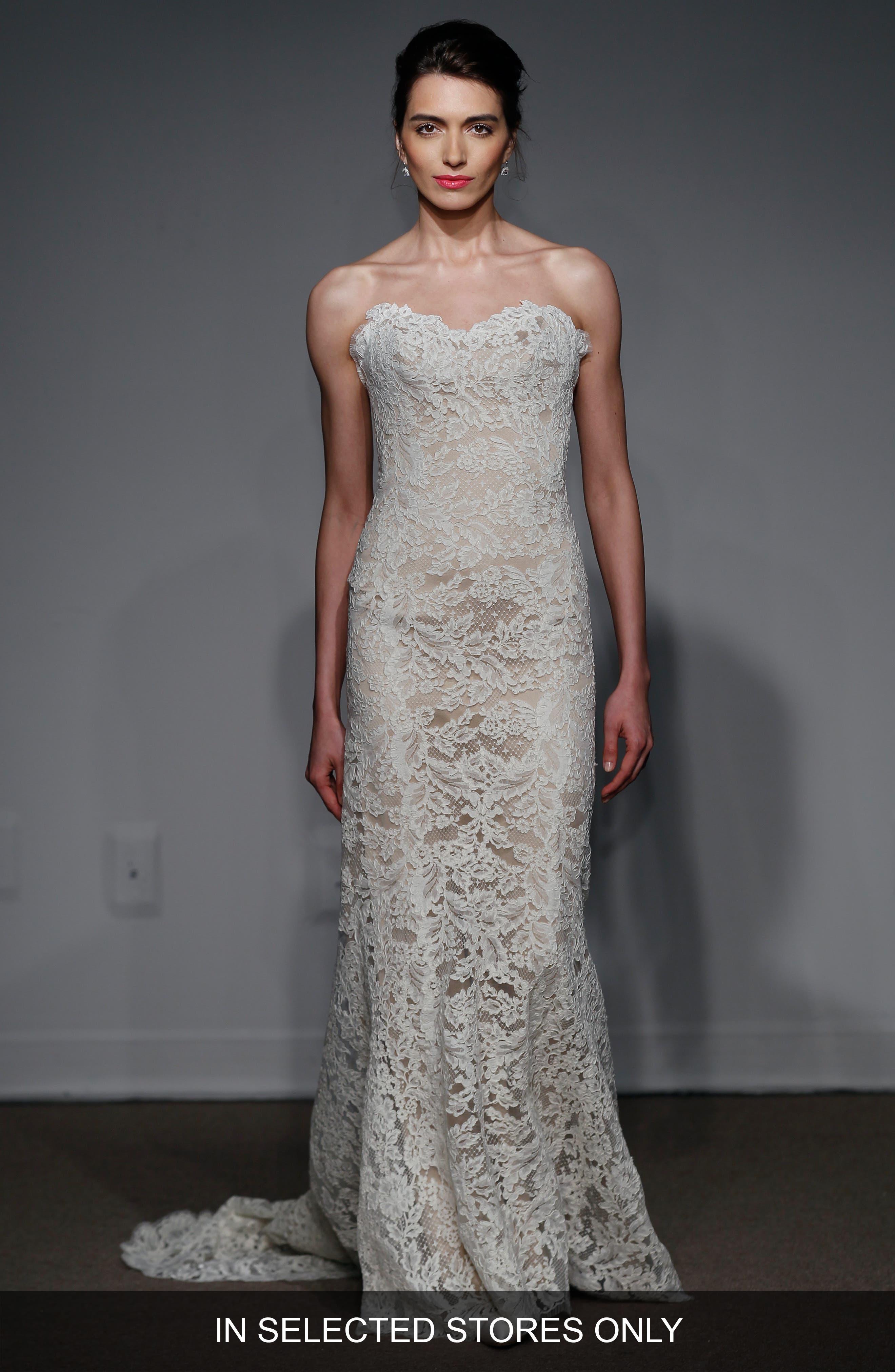 Anna Maier Couture Lyon Strapless Lace Column Gown (Regular & Plus Size)