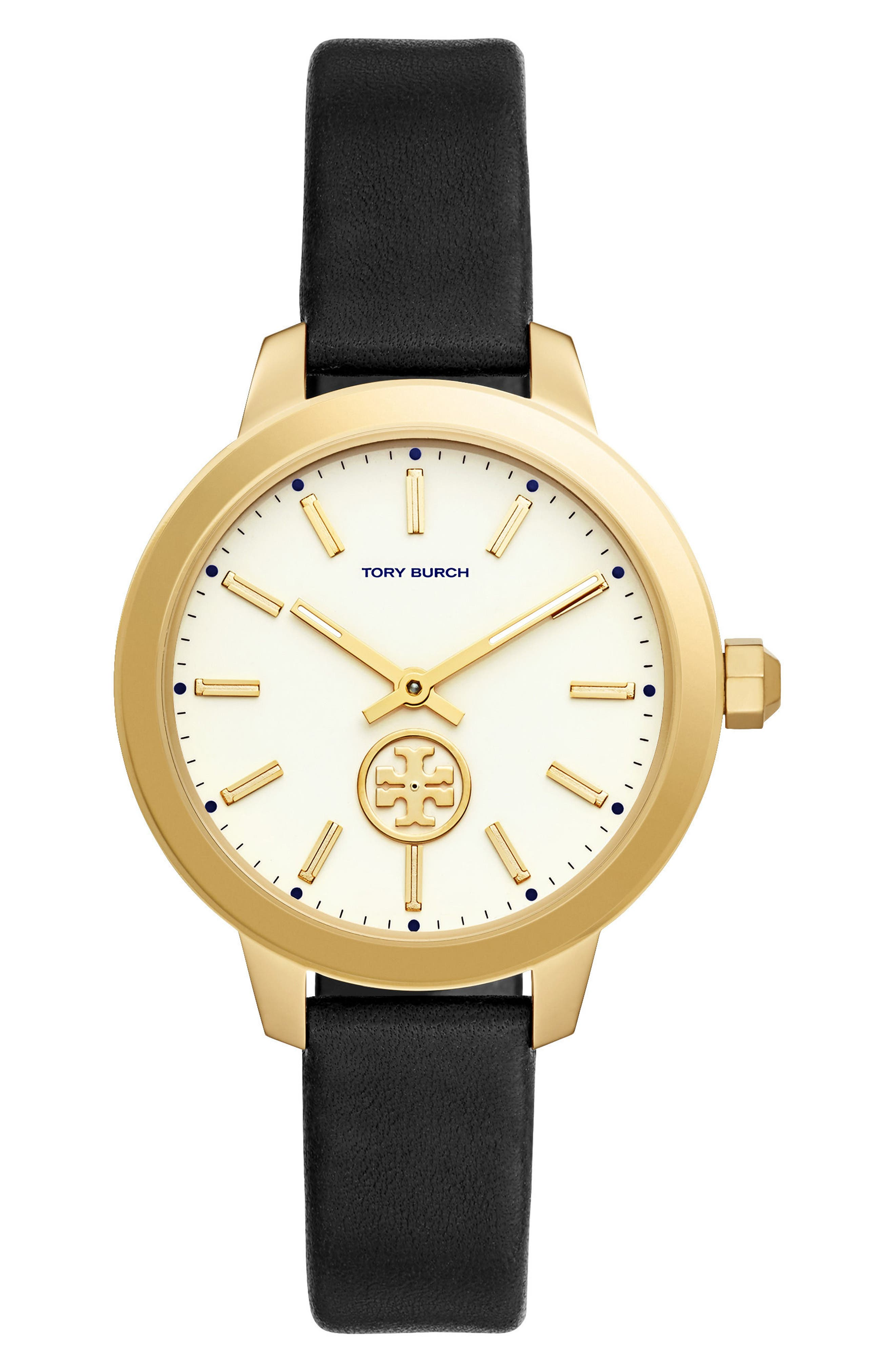 Collins Leather Strap Watch, 38mm,                         Main,                         color, Black/ Ivory/ Gold